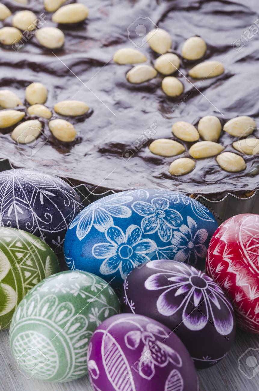Easter Eggs And Mazurka Traditional Polish Easter Chocolate Cake