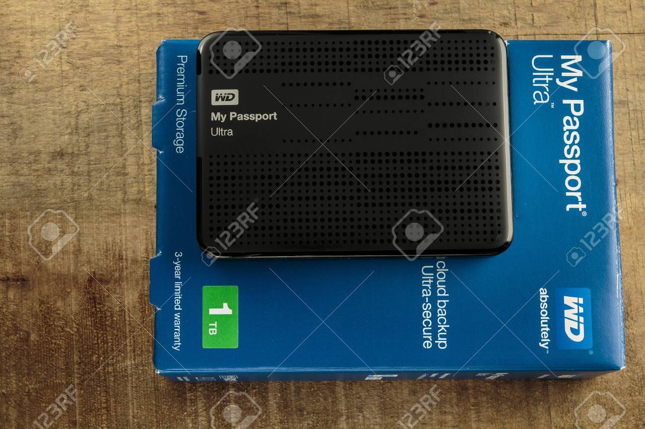 ZAGREB, CROATIA - JUNE 20, 2015: Western digital My Passport
