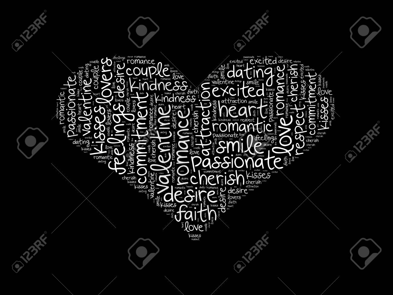 Heart Shape Word Cloud Made Of Words Associated With Love. White ...