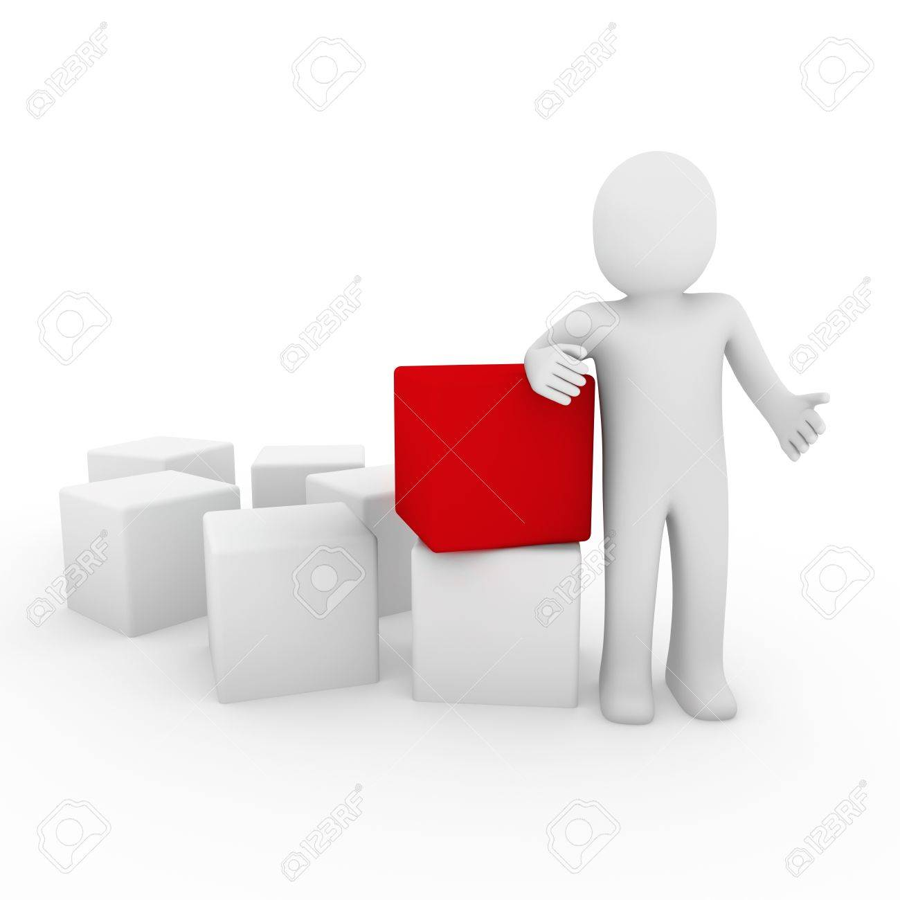 3d human cube box red white business Stock Photo - 8518440
