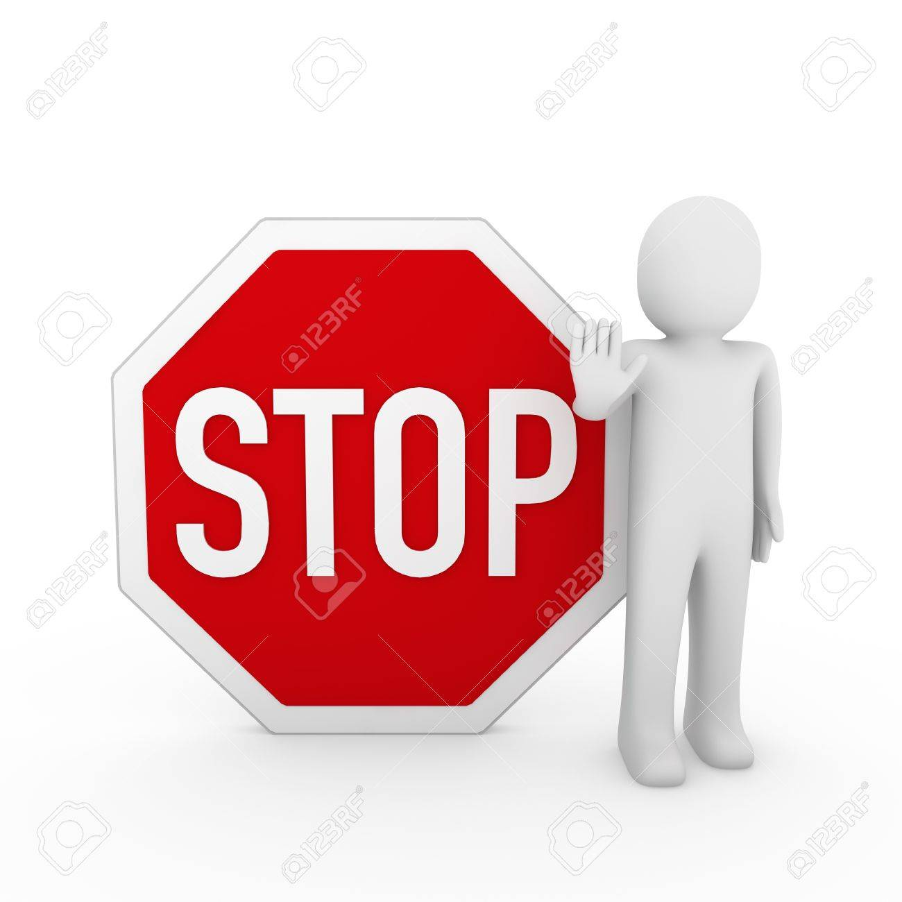 3d human stop red sign white warning symbol stock photo picture and