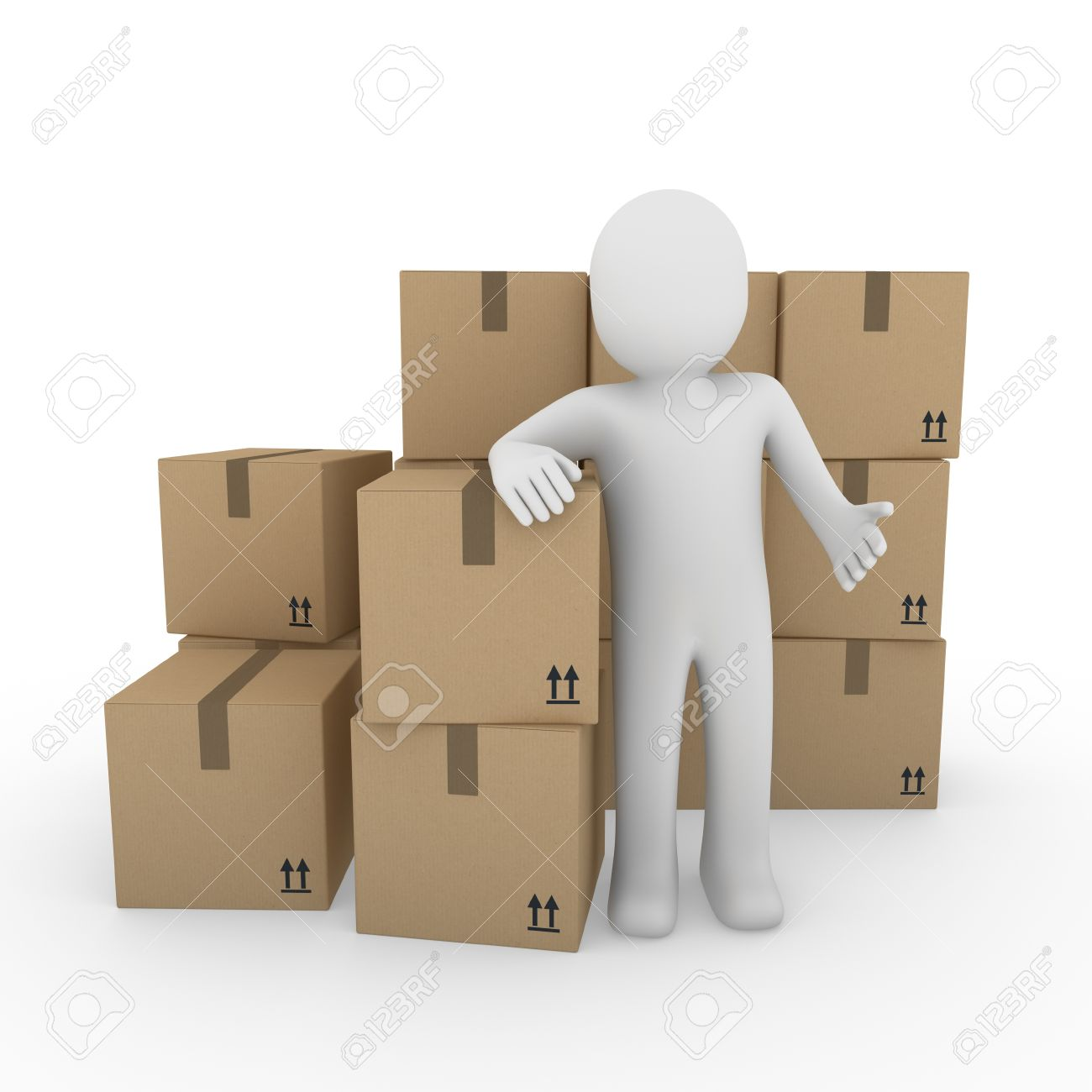 3d, human, shipping, transport, container, box, package, man Stock