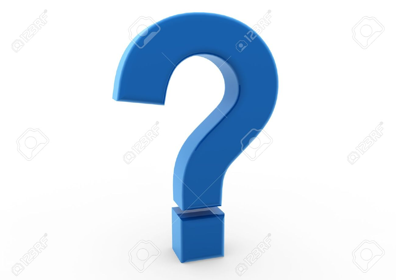 3d question mark blue isolated on white background Stock Photo - 8919293
