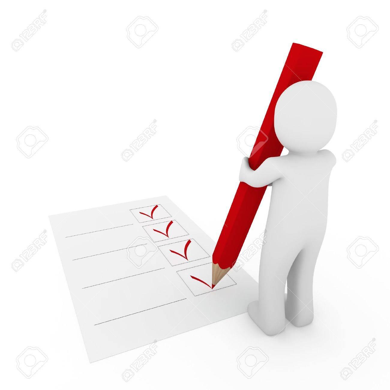 3d human check box paper pen pencil red Stock Photo - 8919327