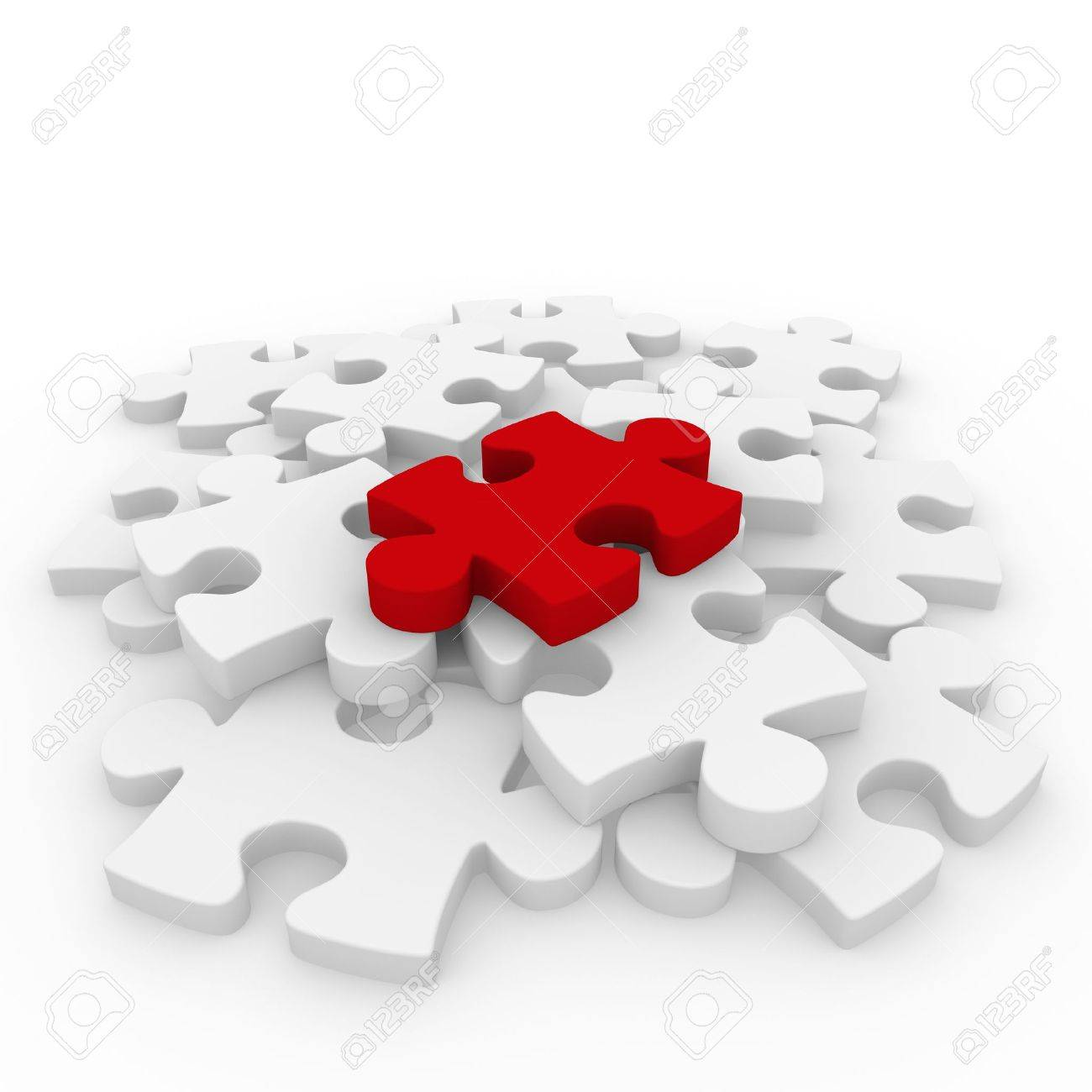 3d puzzle red white success connection piece business Stock Photo - 9002721