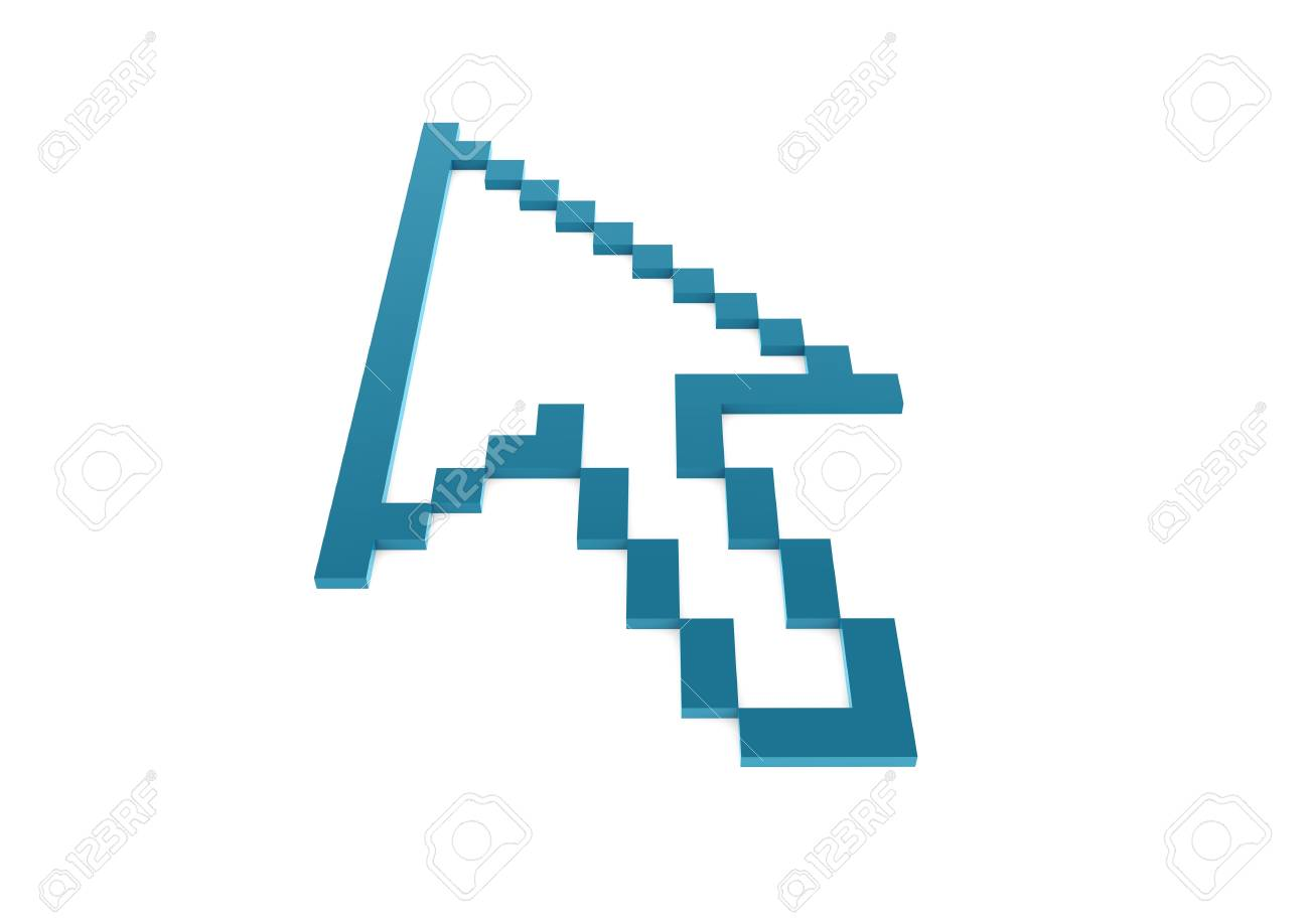 3d blue pixel arrow high isolated on white Stock Photo - 9108918