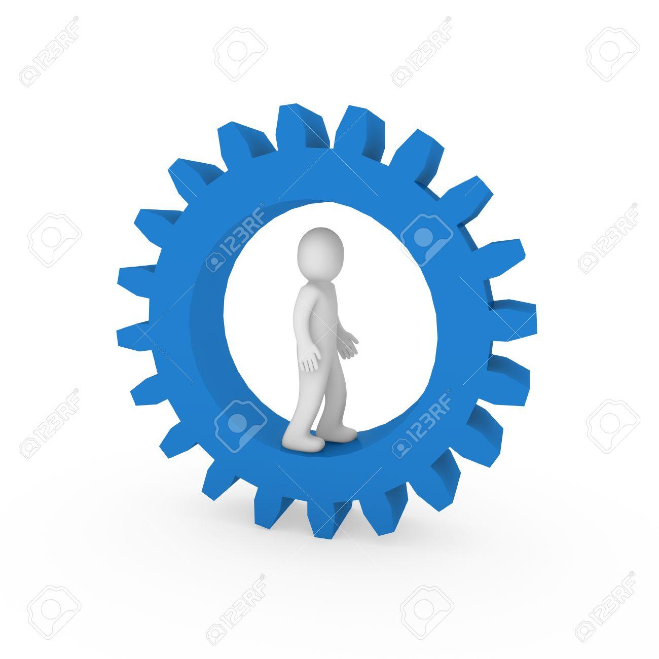 3d gear blue  human man business teamwork technology Stock Photo - 9372237