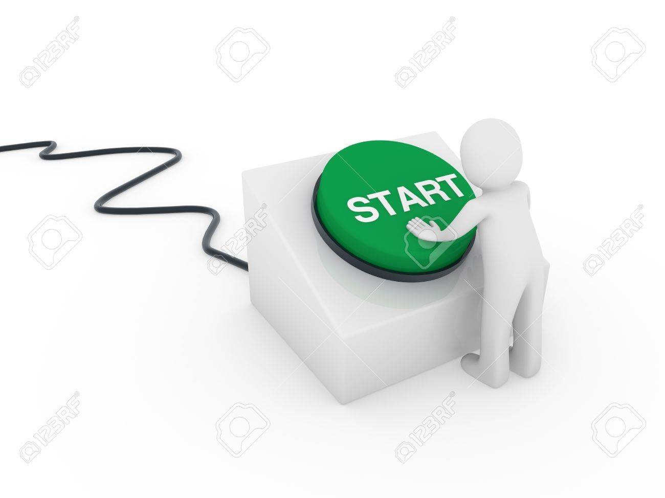 3d human man button green start push business Stock Photo - 9409816