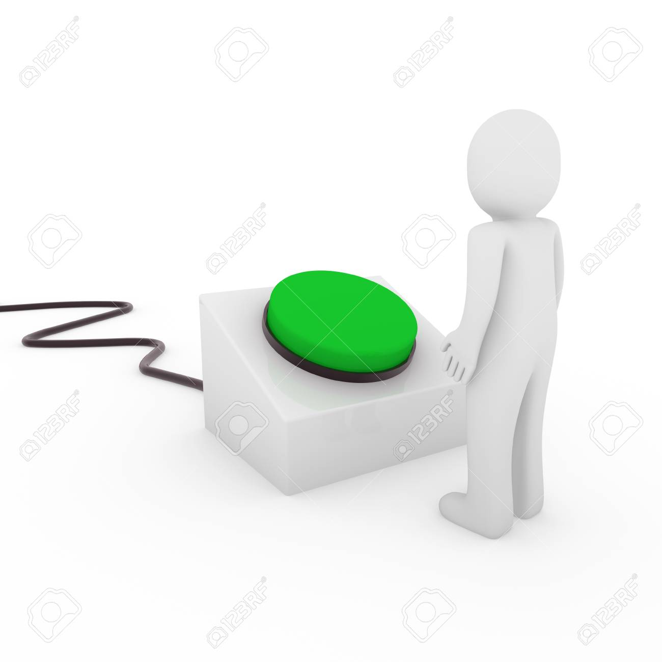 3d human man button stop start green push Stock Photo - 9529538
