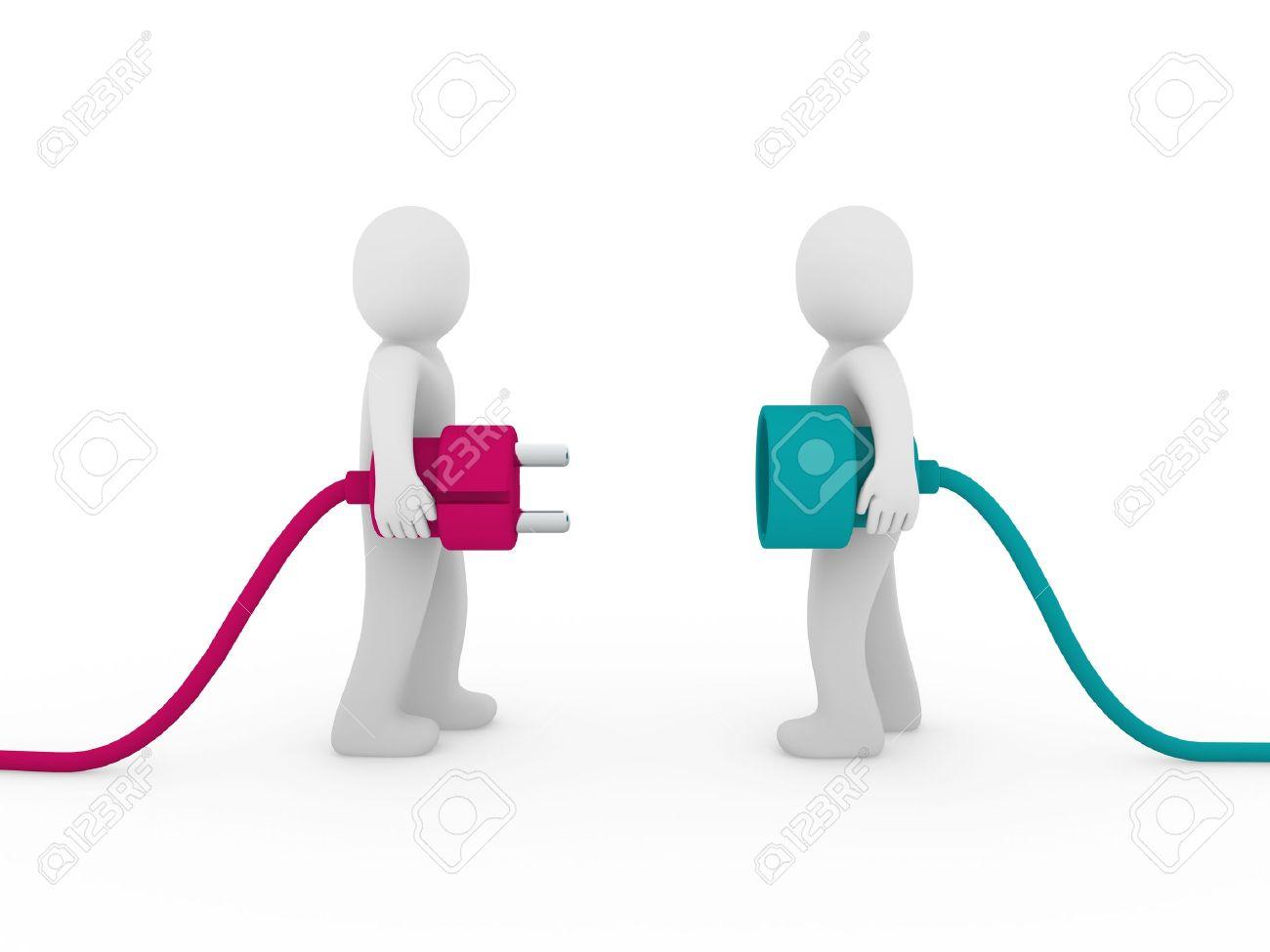 3d men human plug pink green cable energy Stock Photo - 9529547