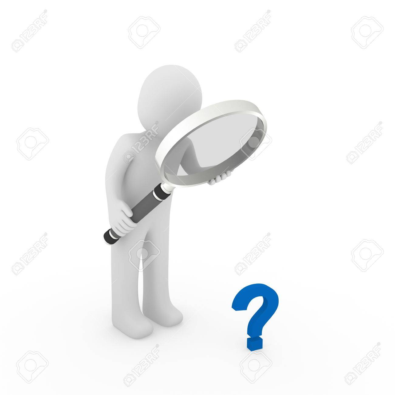 3d man magnifying glass question mark blue search Stock Photo - 9559685