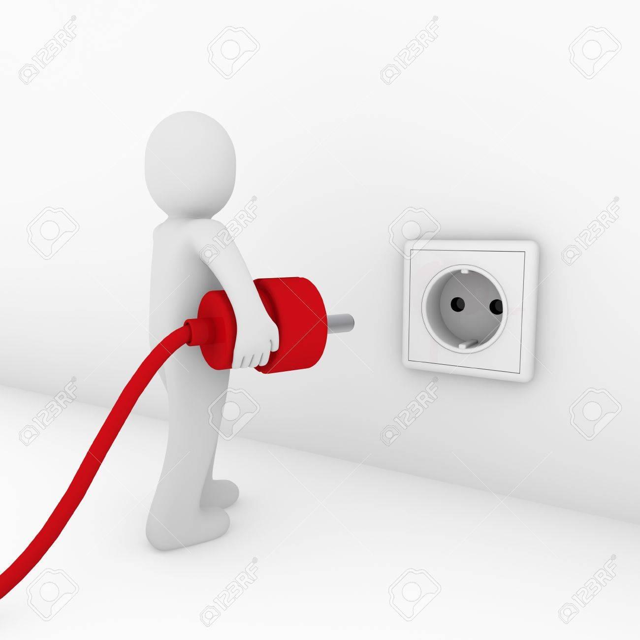 3d man plug socket red energy bio power Stock Photo - 9559705