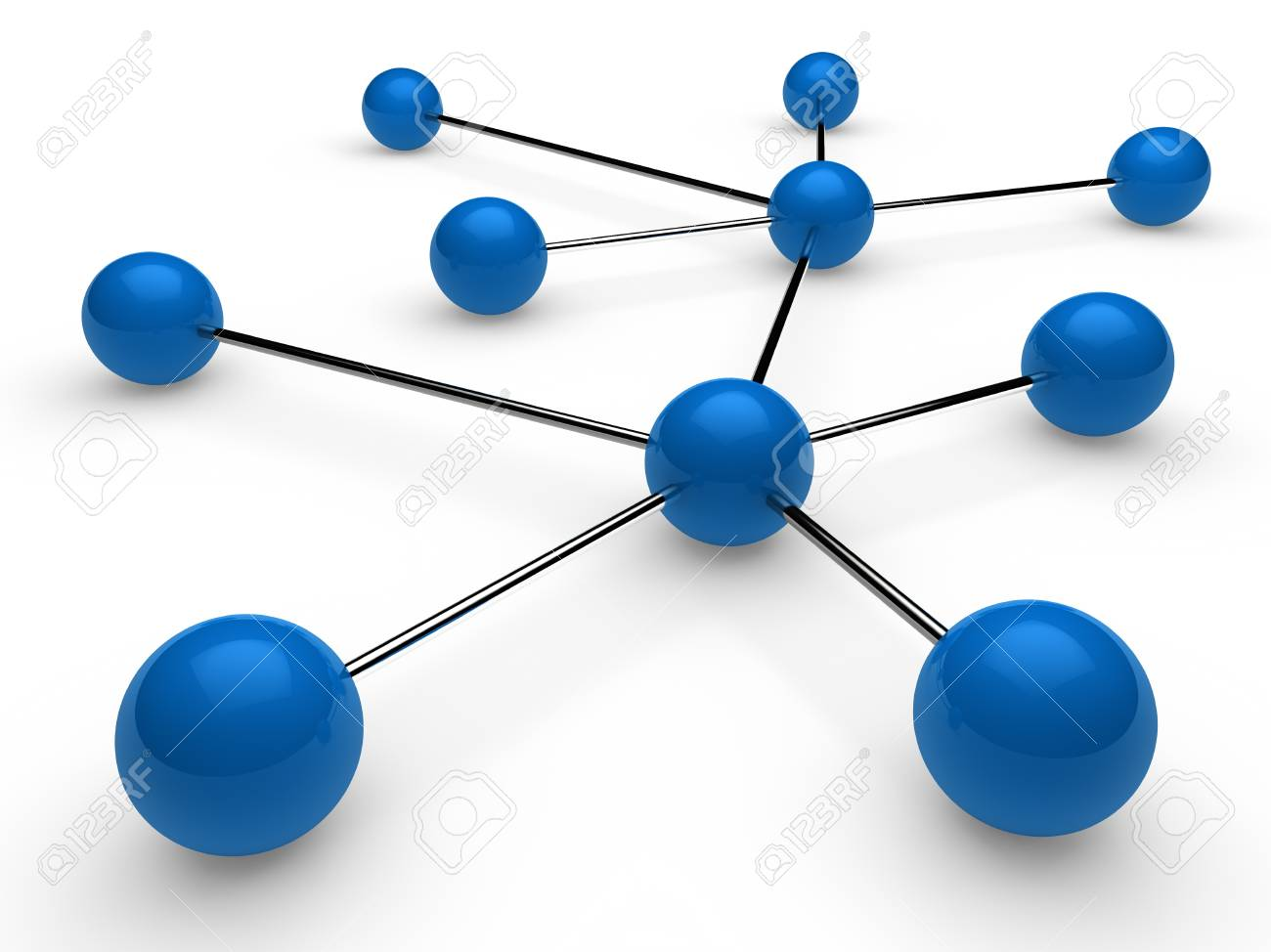 3d blue chrome ball network communication white Stock Photo - 10291049