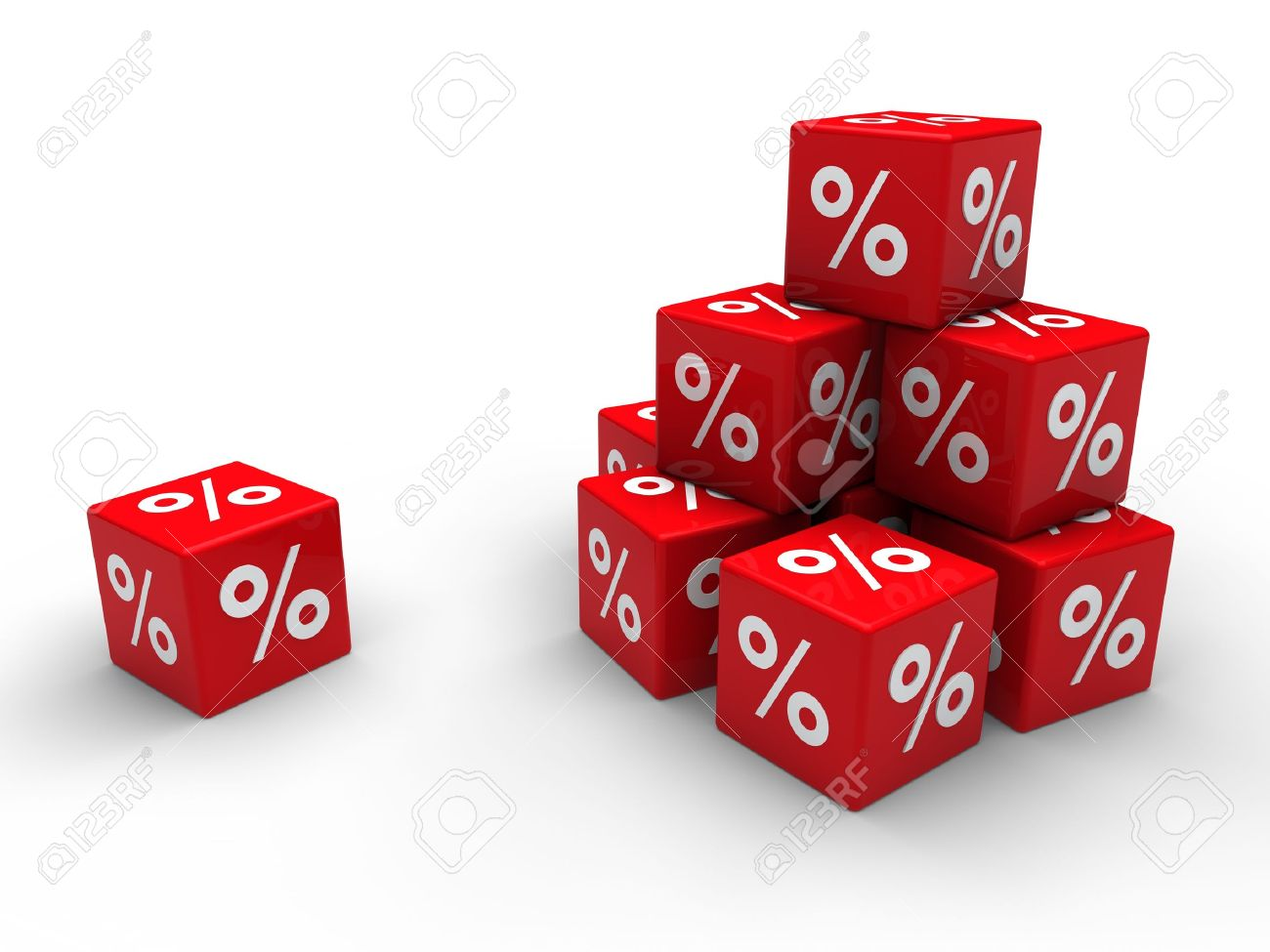 3d red cube sale discount percent business Stock Photo - 10344251