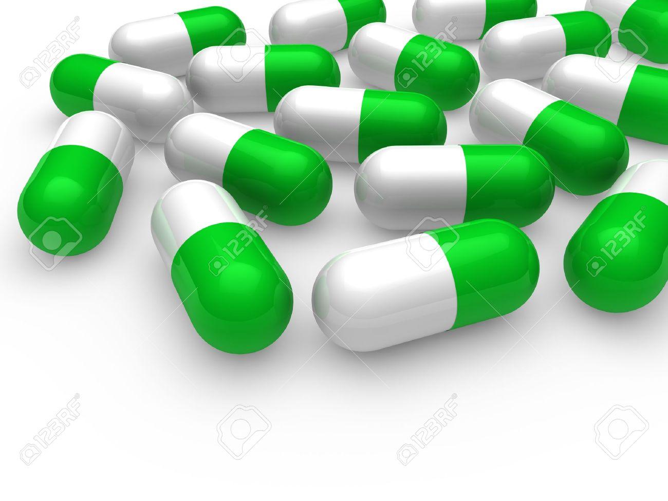 3d Pill Green White Medicine Capsule Tablet