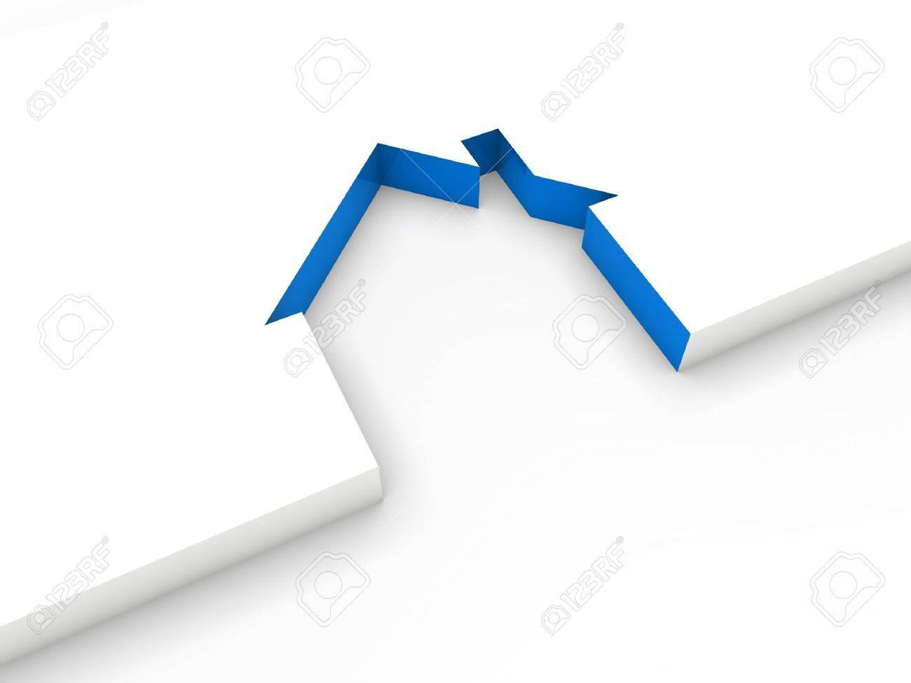 3d house line blue white home estate Stock Photo - 10417104