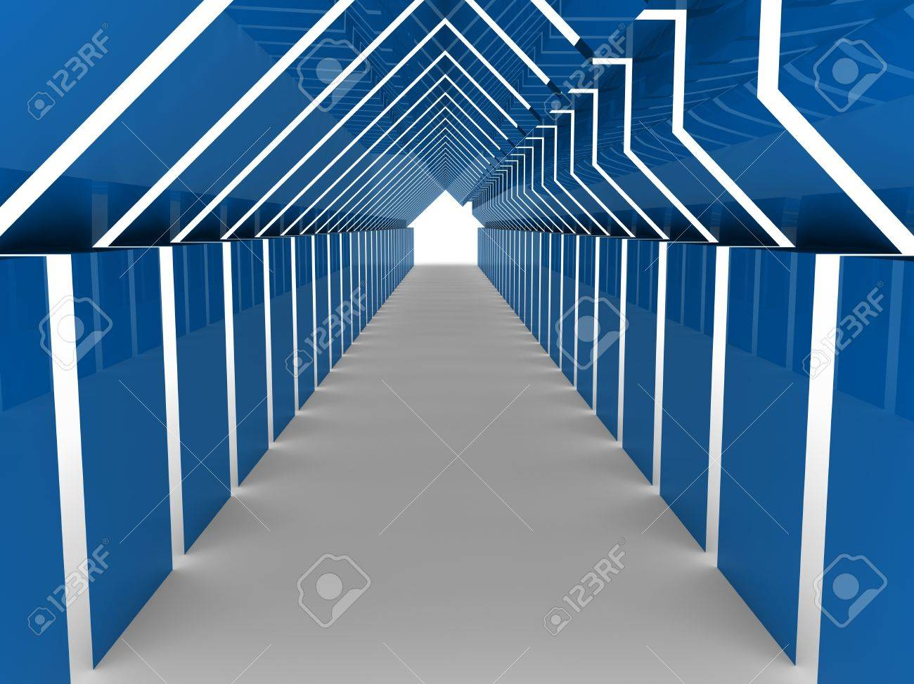 3d house tunnel blue home estate business Stock Photo - 10474934