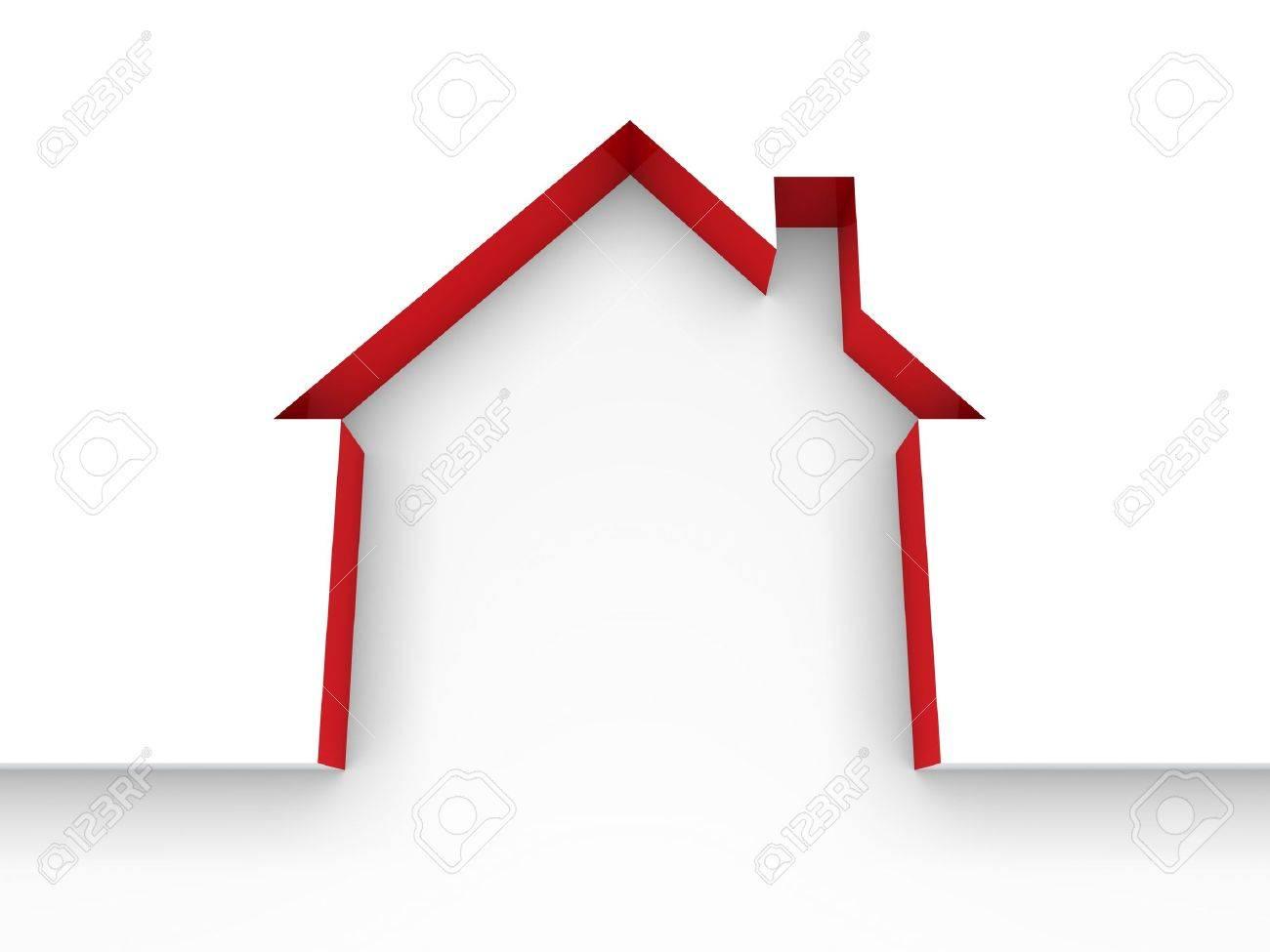 3d house estate red model home white - 10495154