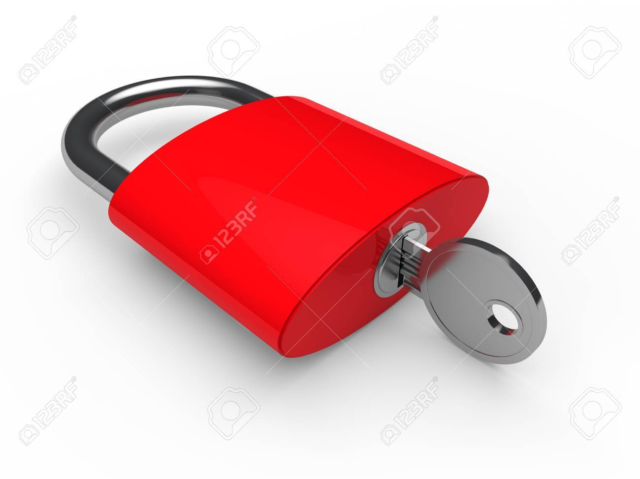3d padlock key safety red lock security Stock Photo - 10508937