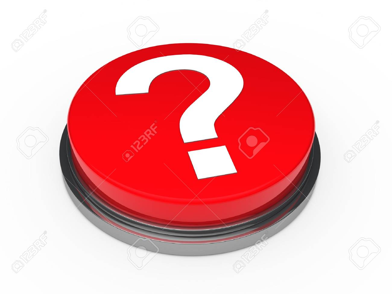 3d button red with question mark sign Stock Photo - 10792453