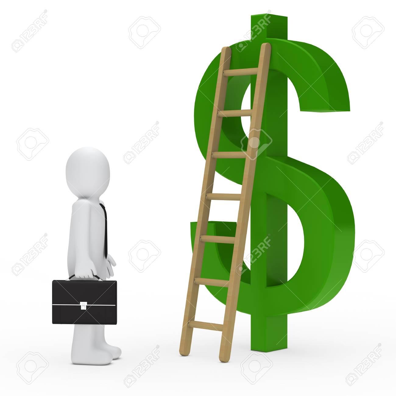business man briefcase tie ladder dollar green Stock Photo - 12174258