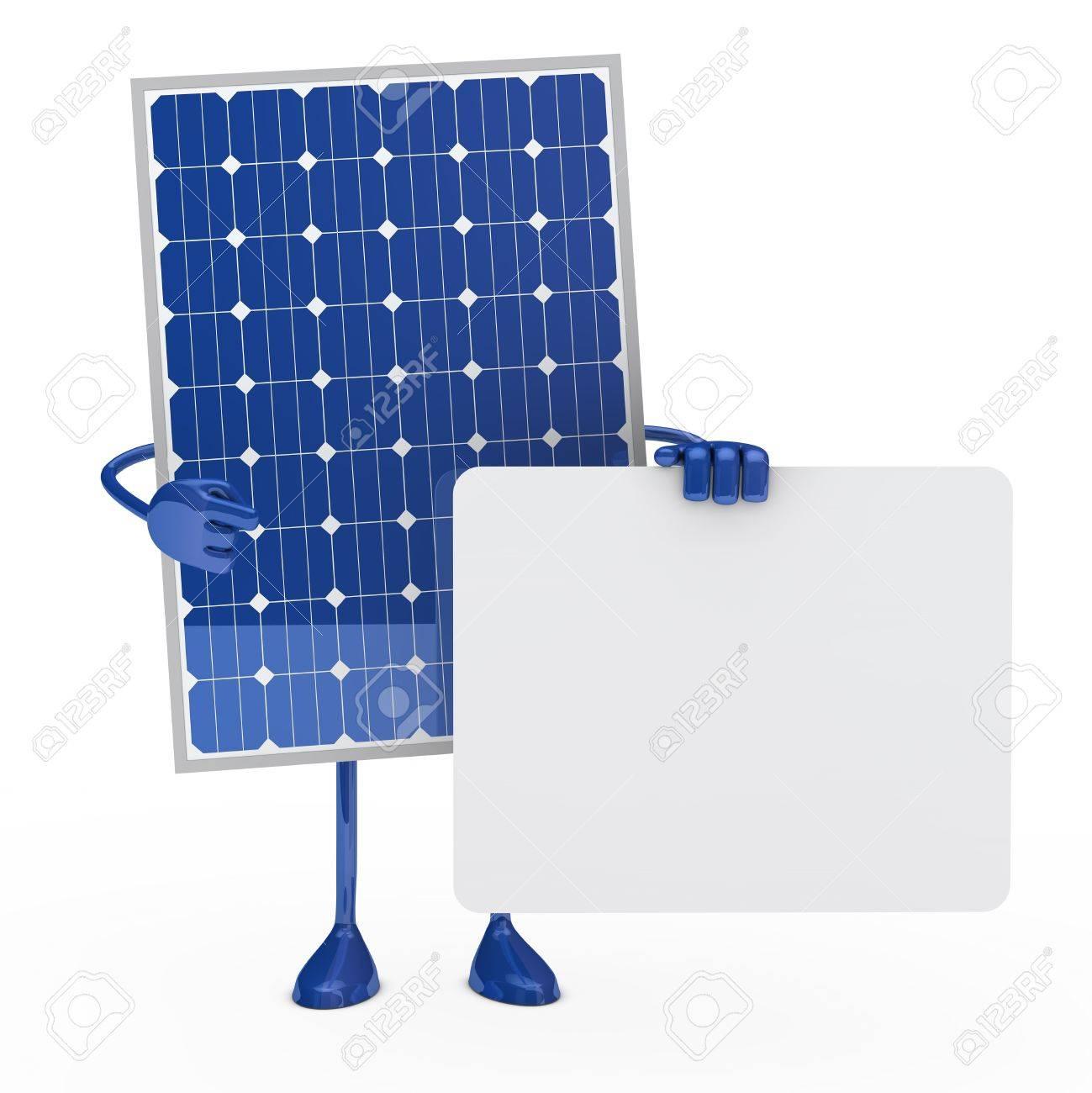 blue solar panel figure hold a billboard Stock Photo - 12174324