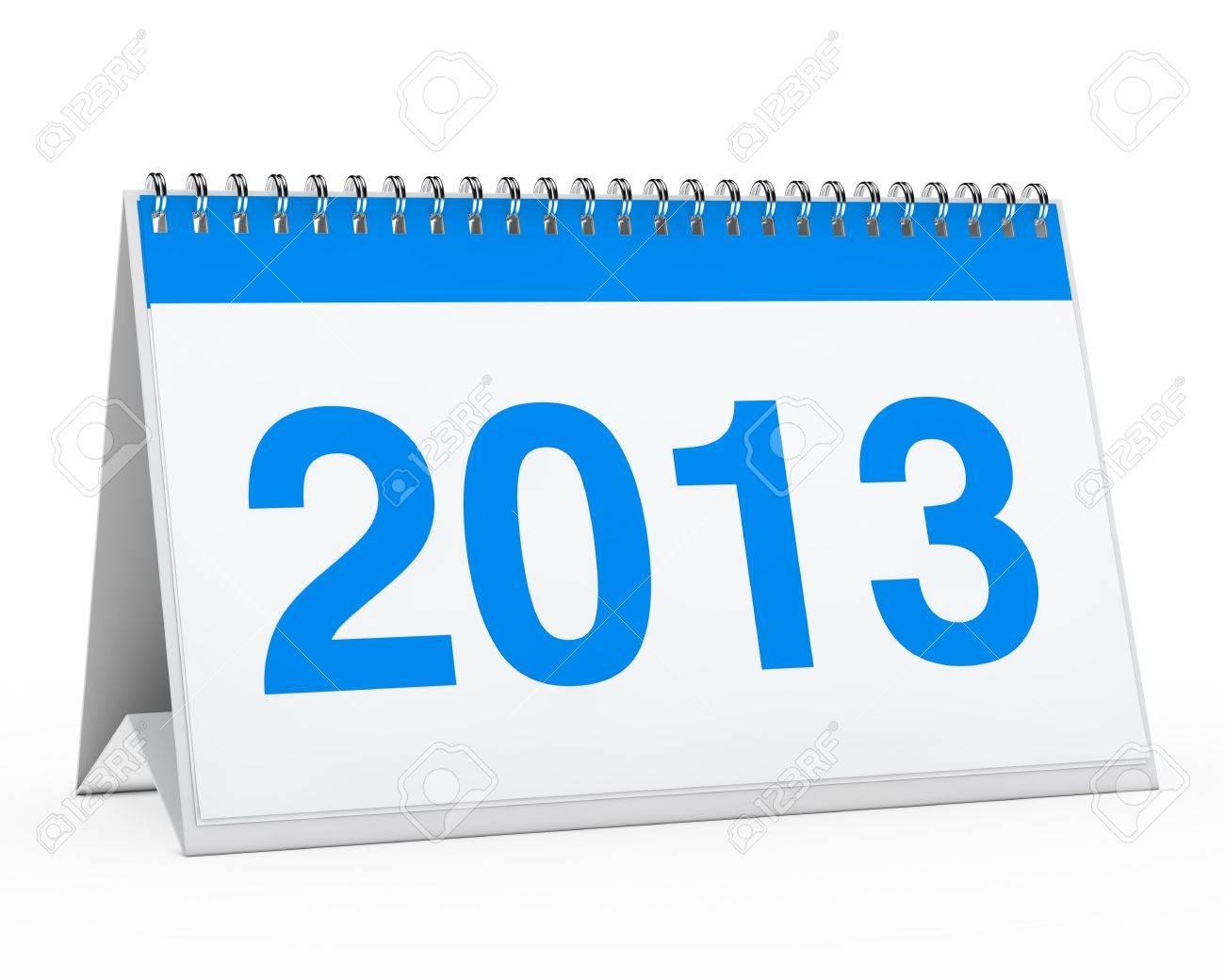 calendario del año 2013 color azul sobre fondo blanco Foto de archivo - 13129070