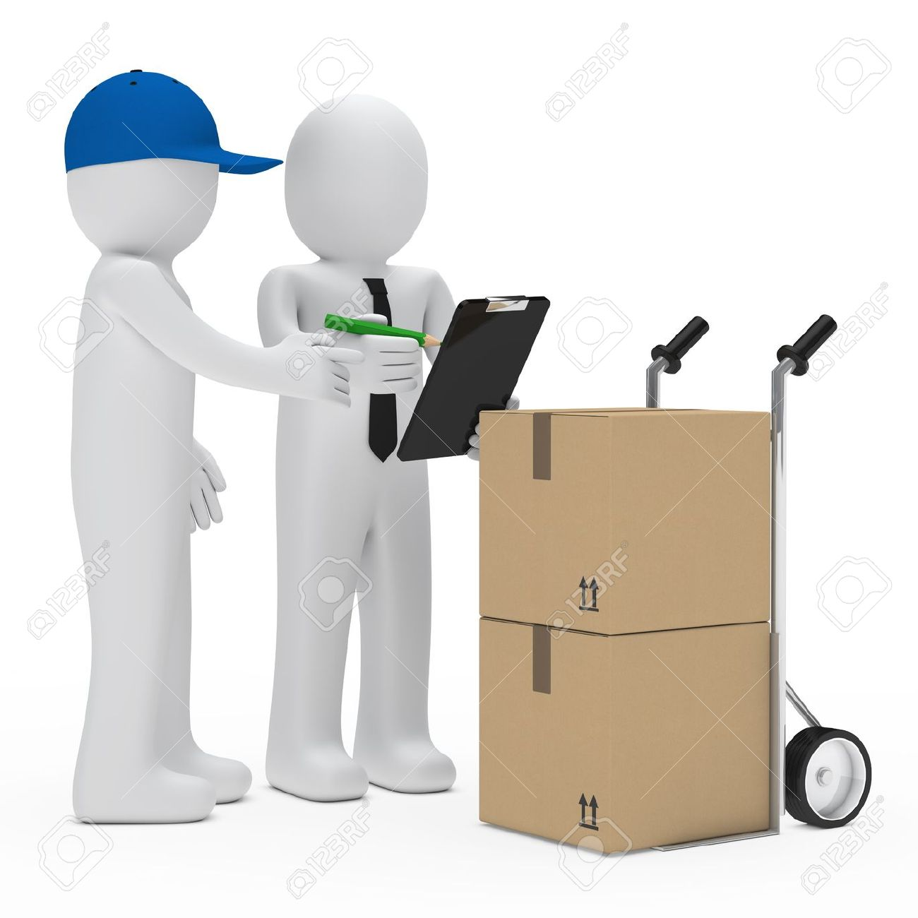 courier figure bring package businessman make sign Stock Photo - 13186514