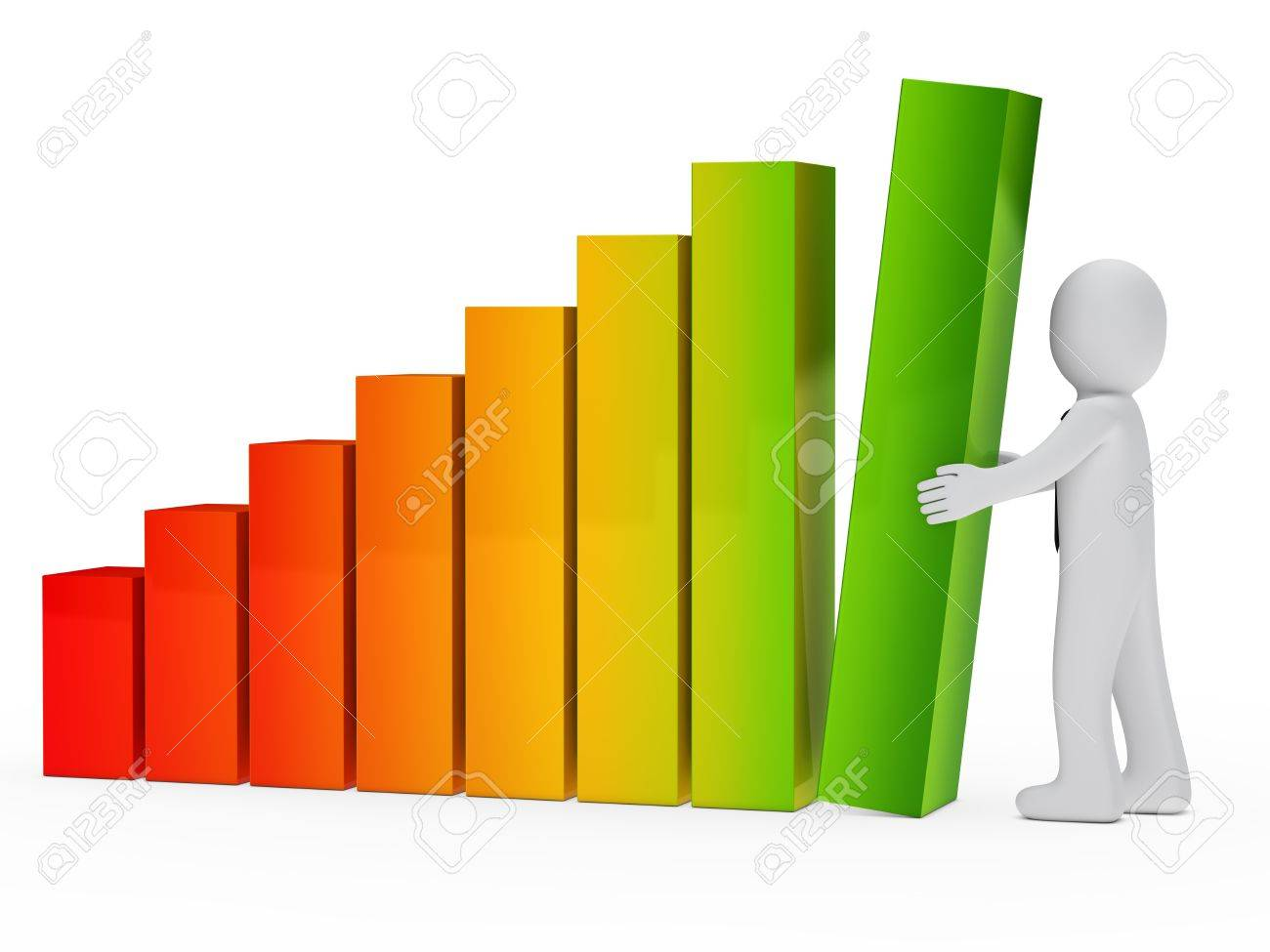 businessman with tie hold a graph element Stock Photo - 13235488