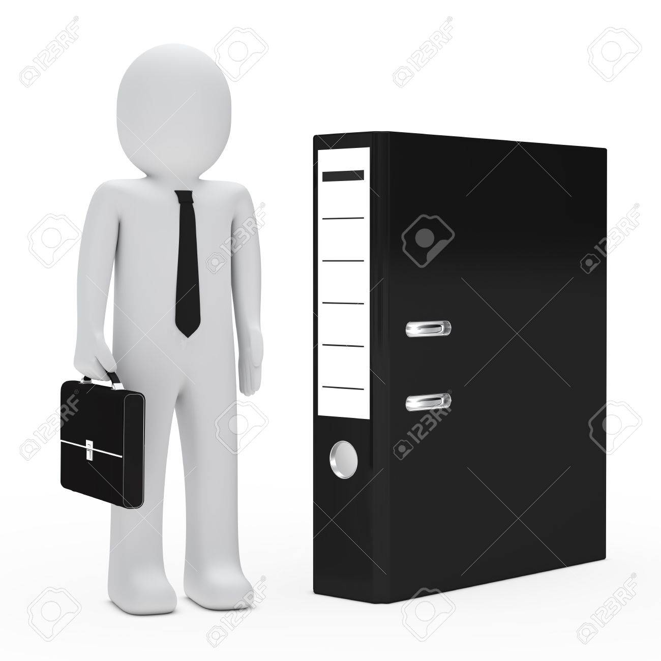 businessman with briefcase stand next black folder Stock Photo - 13432055