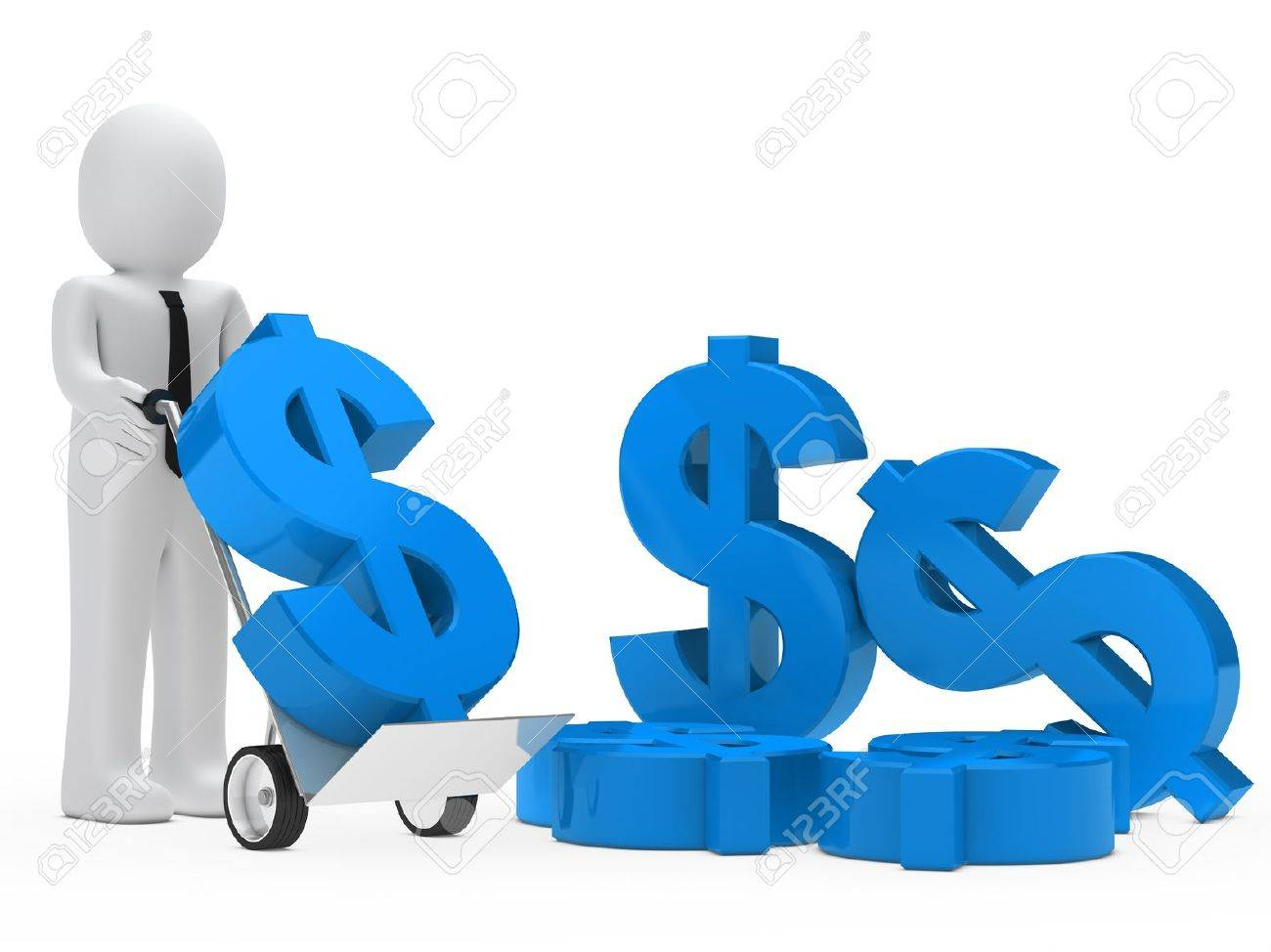 businessman hold hand truck with blue dollar Stock Photo - 13549098