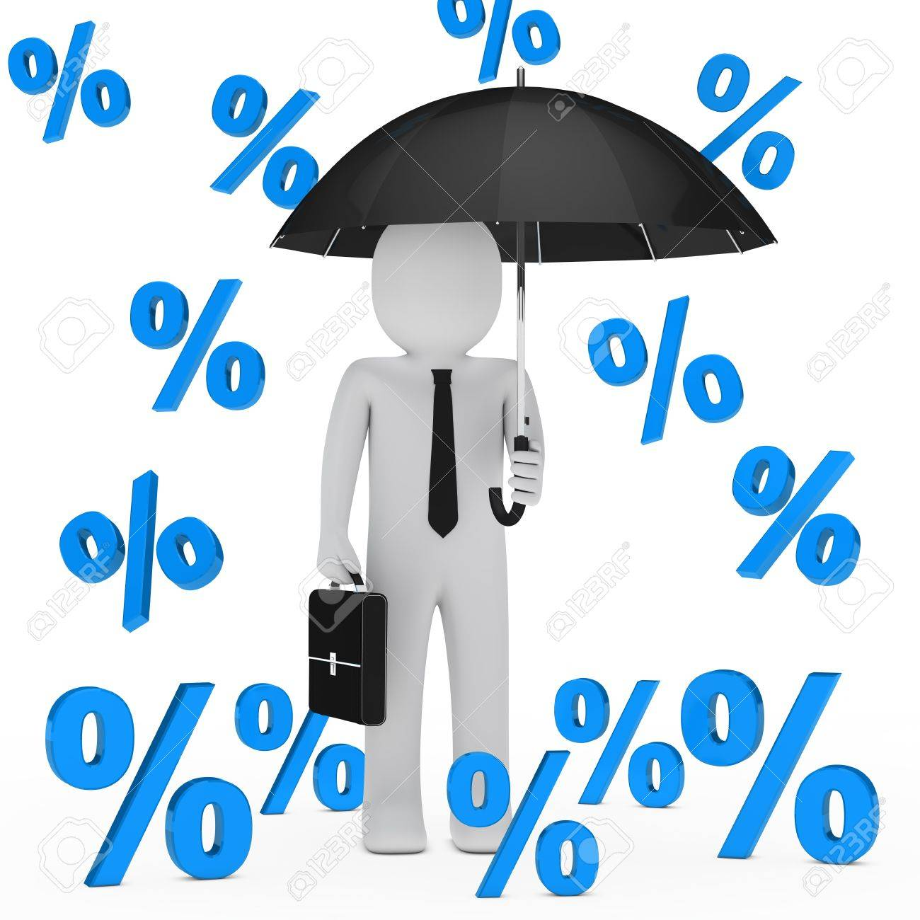 businessman with umbrella falling blue sale percent Stock Photo - 13681055