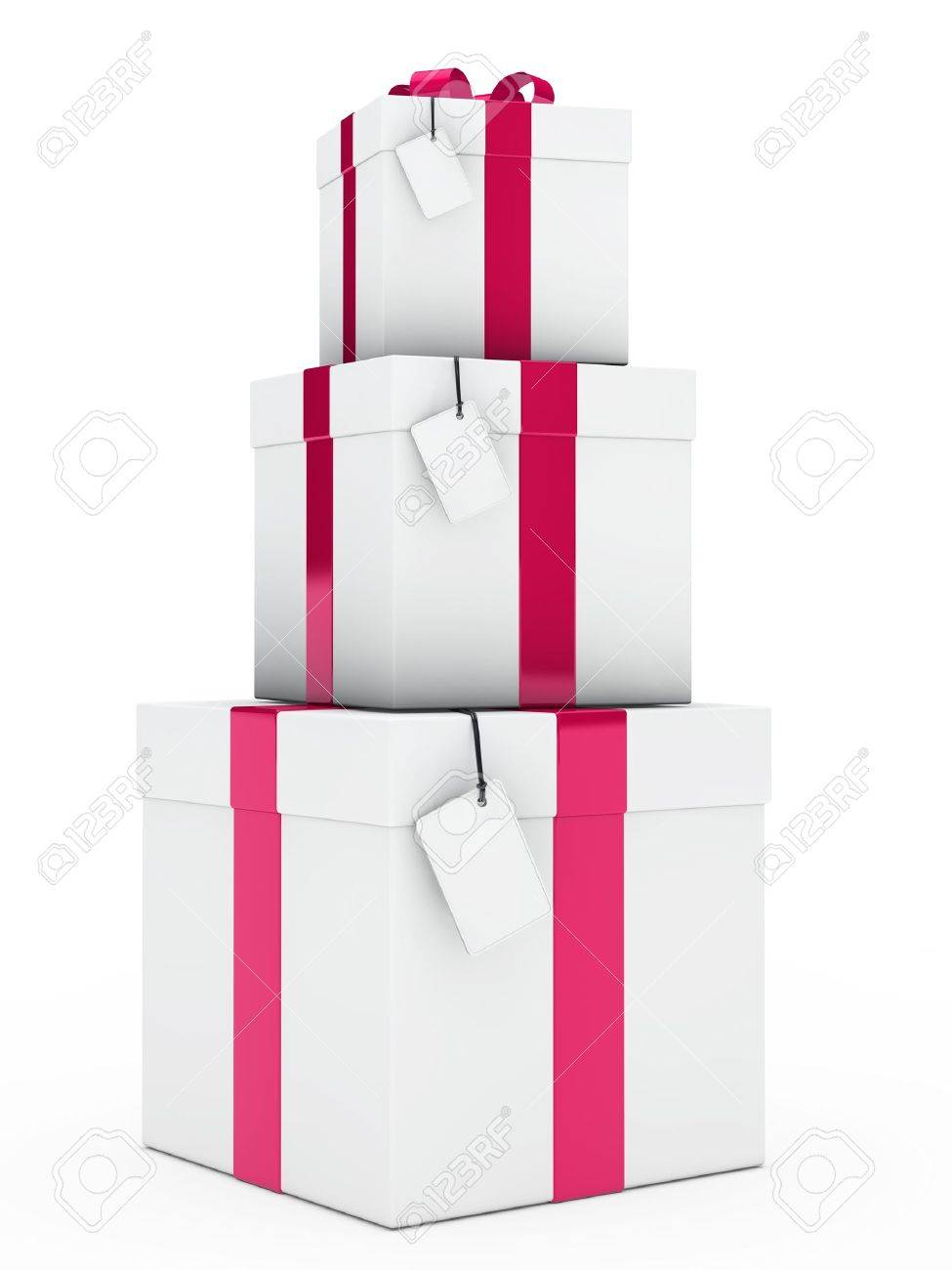 Christmas Three Gift Boxes Pink White Stack Stock Photo, Picture And ...