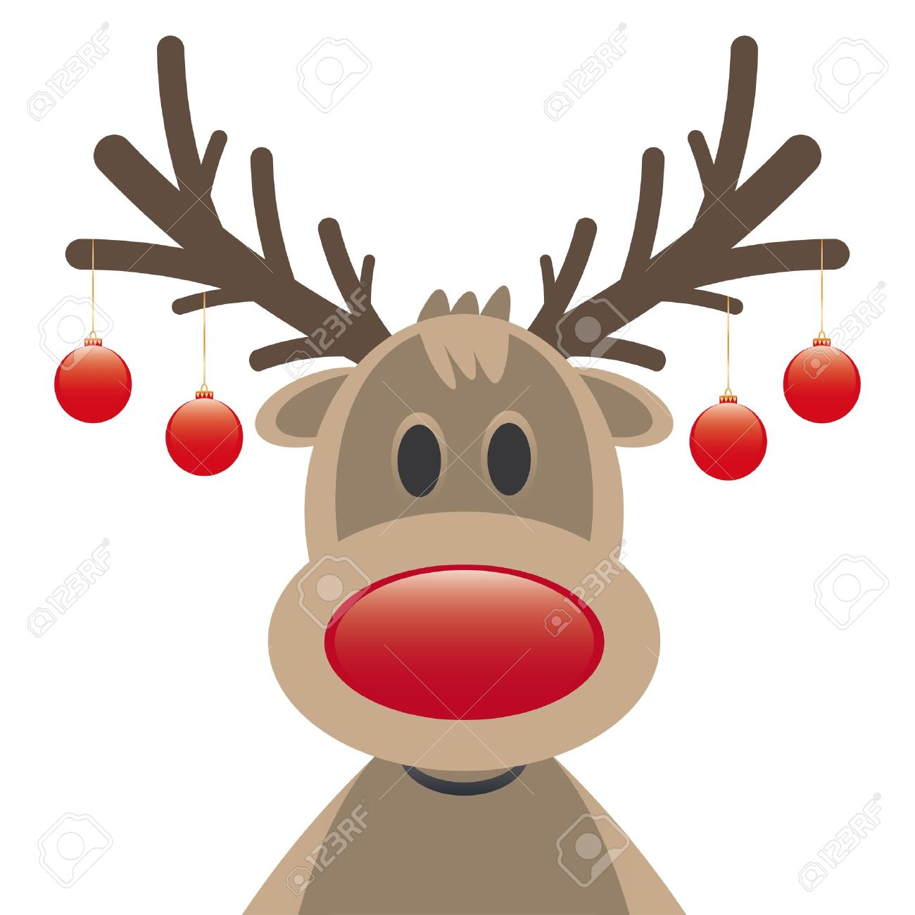 Rudolph Reindeer Red Nose And Christmas Balls Stock Photo, Picture ...