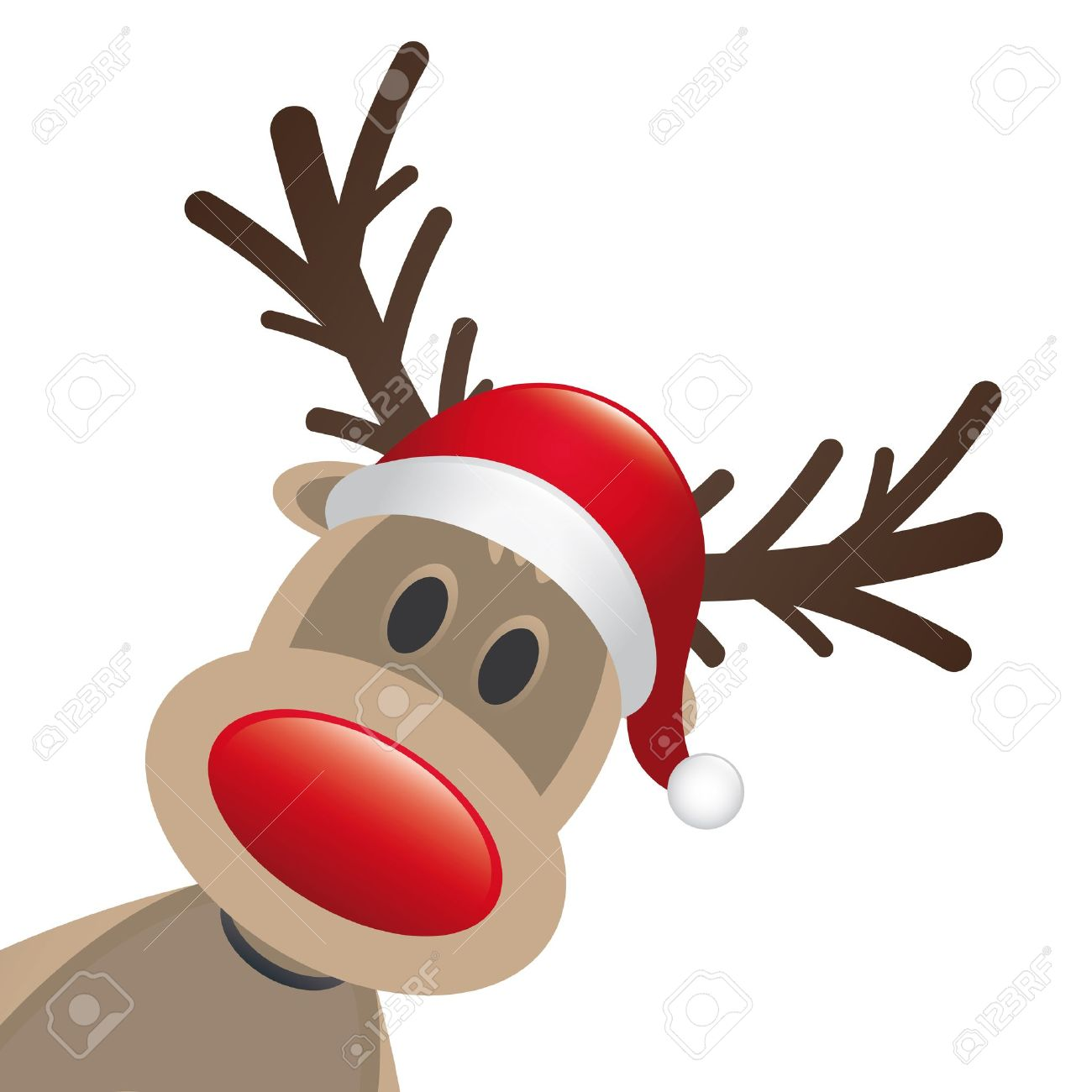 rudolph reindeer red nose santa claus hat stock photo picture and
