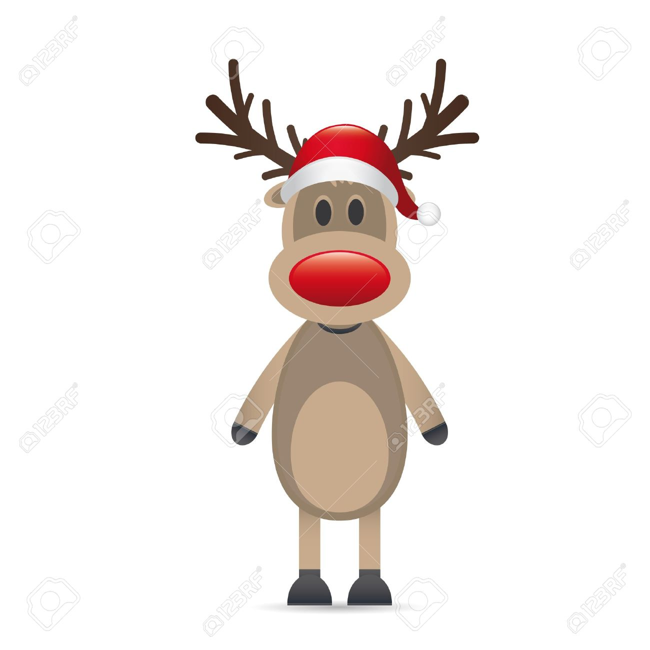 rudolph reindeer red nose santa claus hat Stock Photo - 15274650
