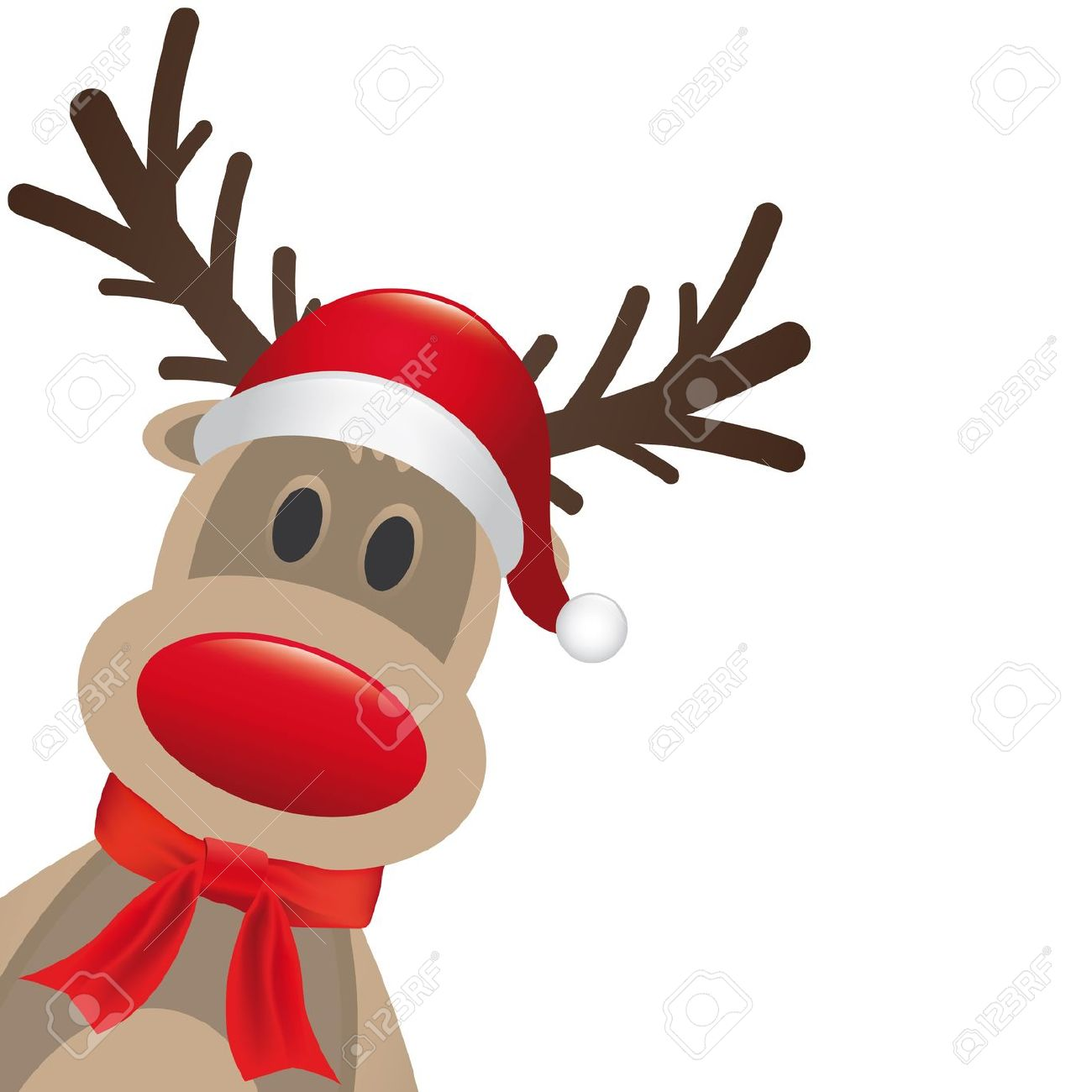 Rudolph Reindeer Rote Nase Mütze Und Schal Lizenzfreie Fotos, Bilder ...