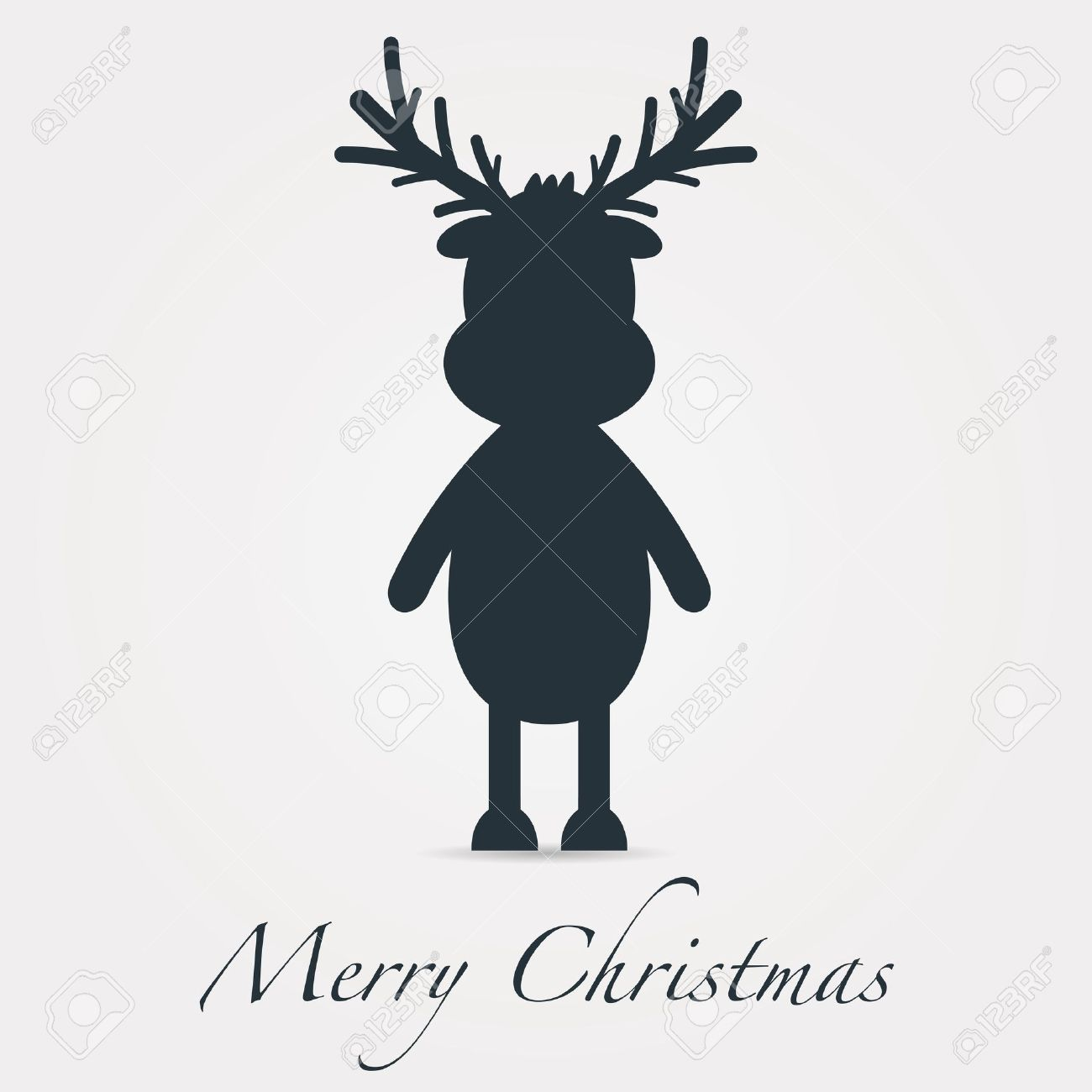 Rudolph Reindeer Silhouette Black Merry Christmas Text Stock Photo ...