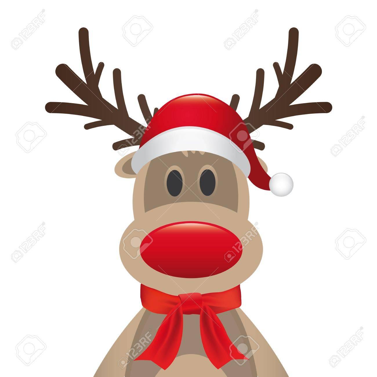 de25cd7b89281 rudolph reindeer red nose santa hat scarf Stock Photo - 15321544