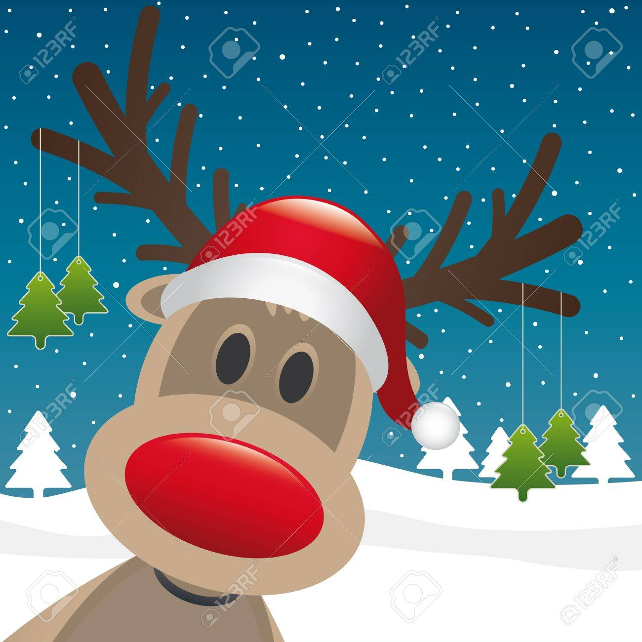 Rudolph Reindeer Red Nose Hang Christmas Tree Stock Photo, Picture ...