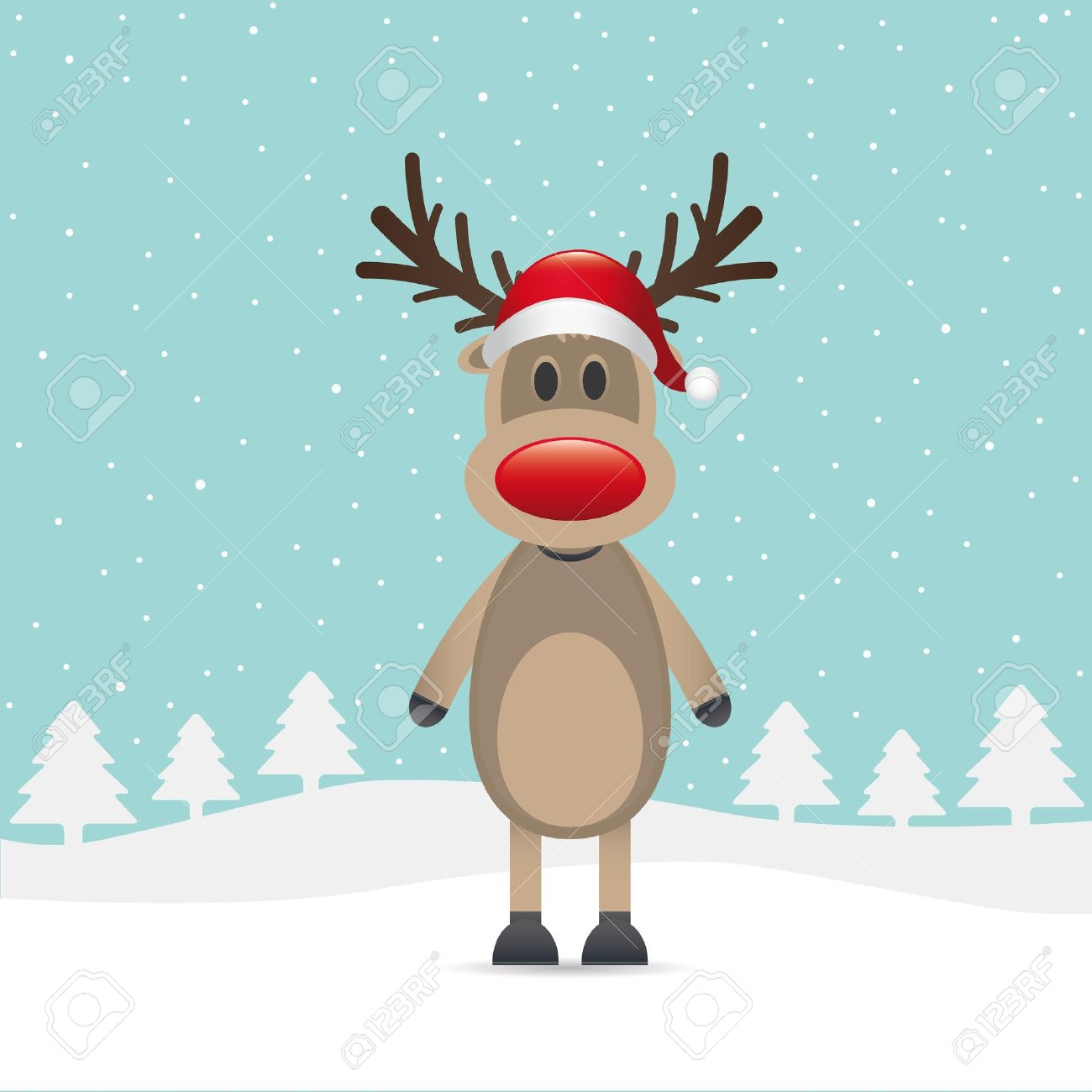 rudolph reindeer red nose santa claus hat stock photo 15580165 - Rudolph And Santa
