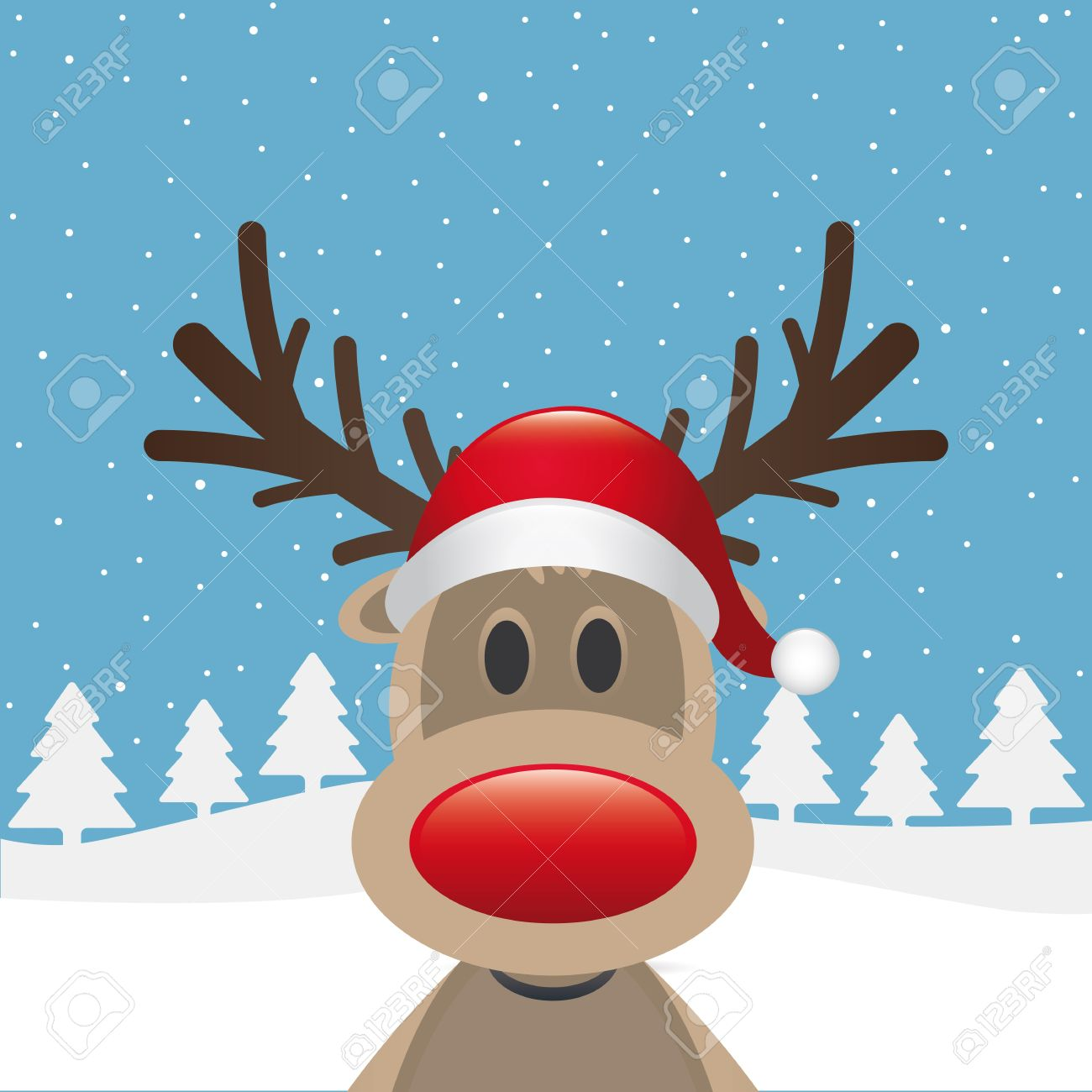 rudolph reindeer red nose santa claus hat stock photo 15605653 - Rudolph And Santa