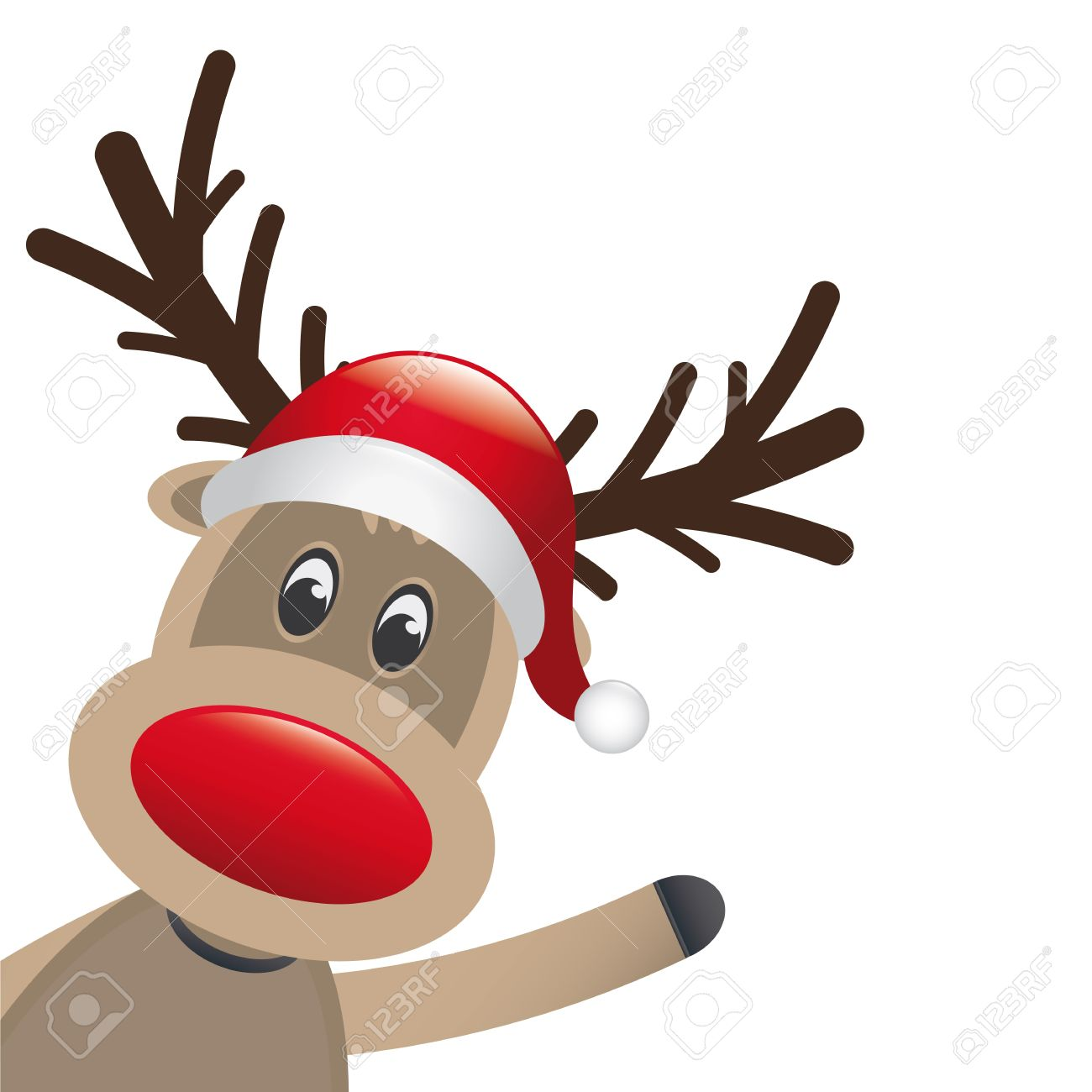 Renne Du Pere Noel Nez Rouge Rudolph Reindeer Red Nose Wave Santa Claus Stock Photo, Picture