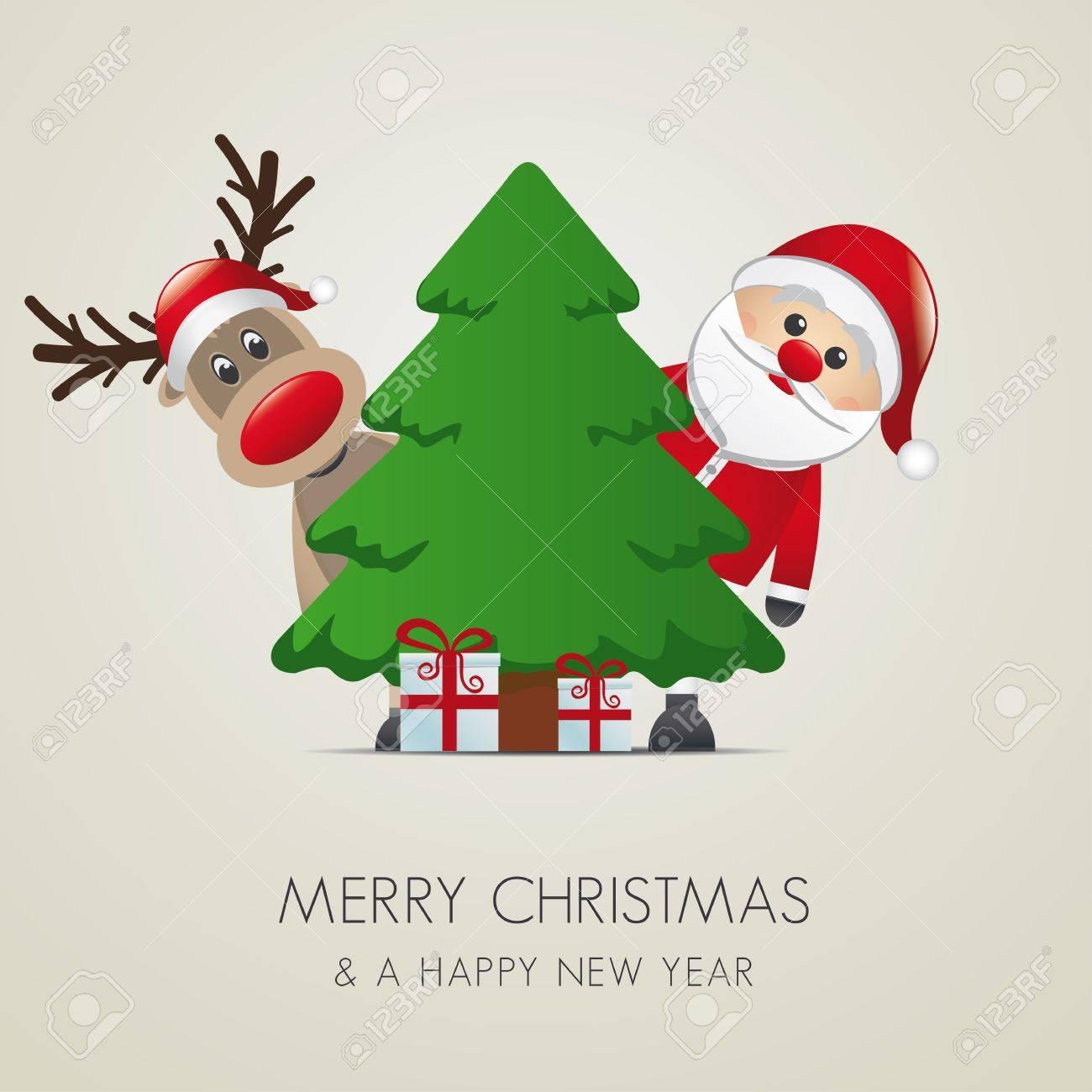 reindeer santa claus christmas tree gift box Stock Vector - 15761847