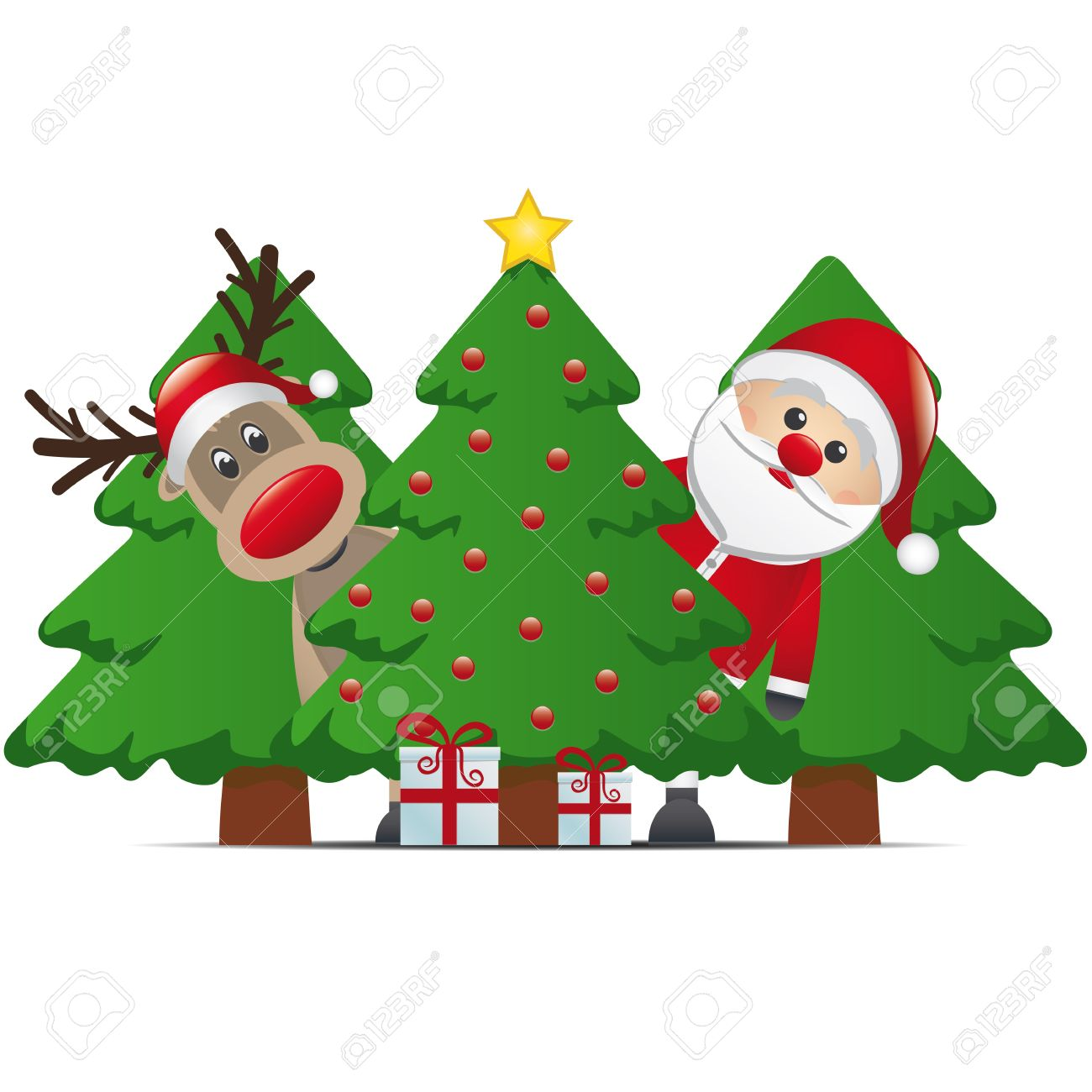 reindeer santa claus christmas tree gift box Stock Vector - 15816117