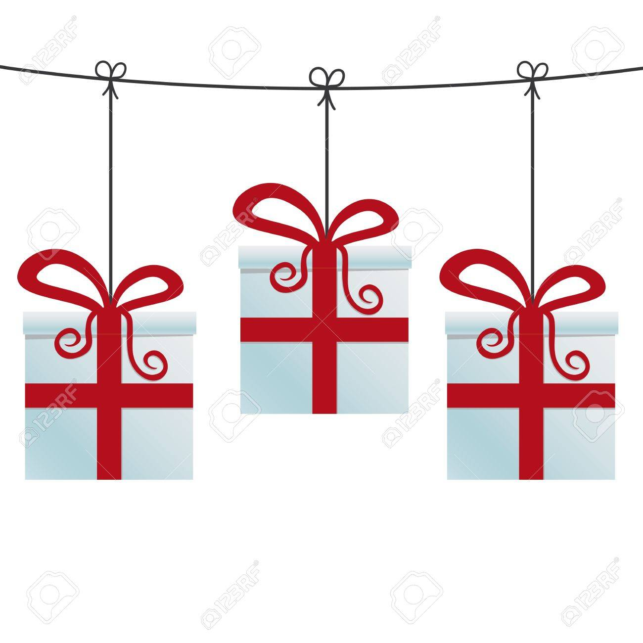 red gift boxes hanging on a twine Stock Vector - 15816083