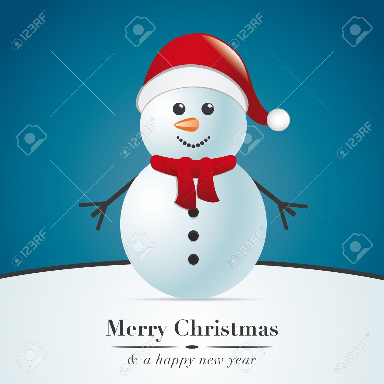 snowman with scarf and santa claus hat - 15995018