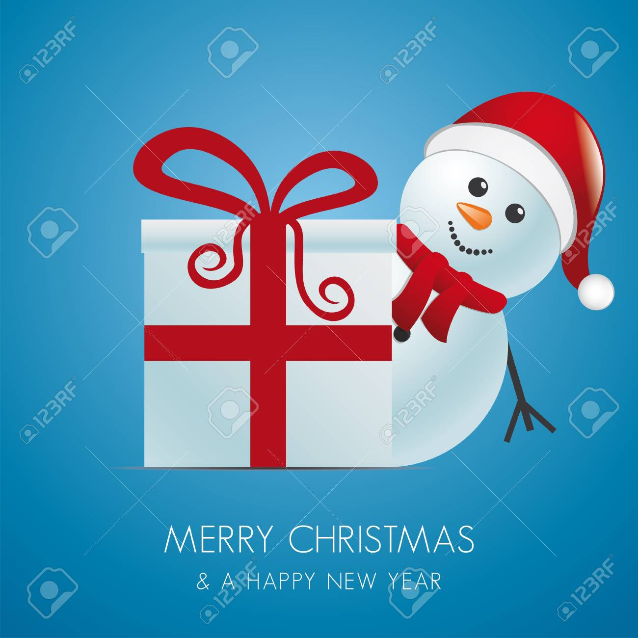 snowman with santa hat behind gift box Stock Vector - 15995026