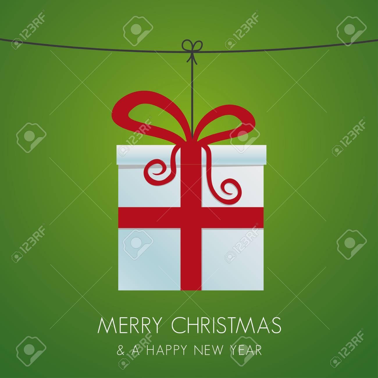 christmas gift box hanging on a twine Stock Vector - 16068155