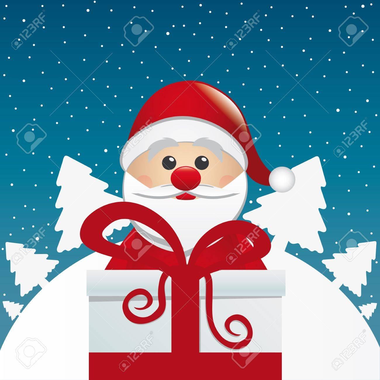 santa behind gift box white winter landscape - 16068190